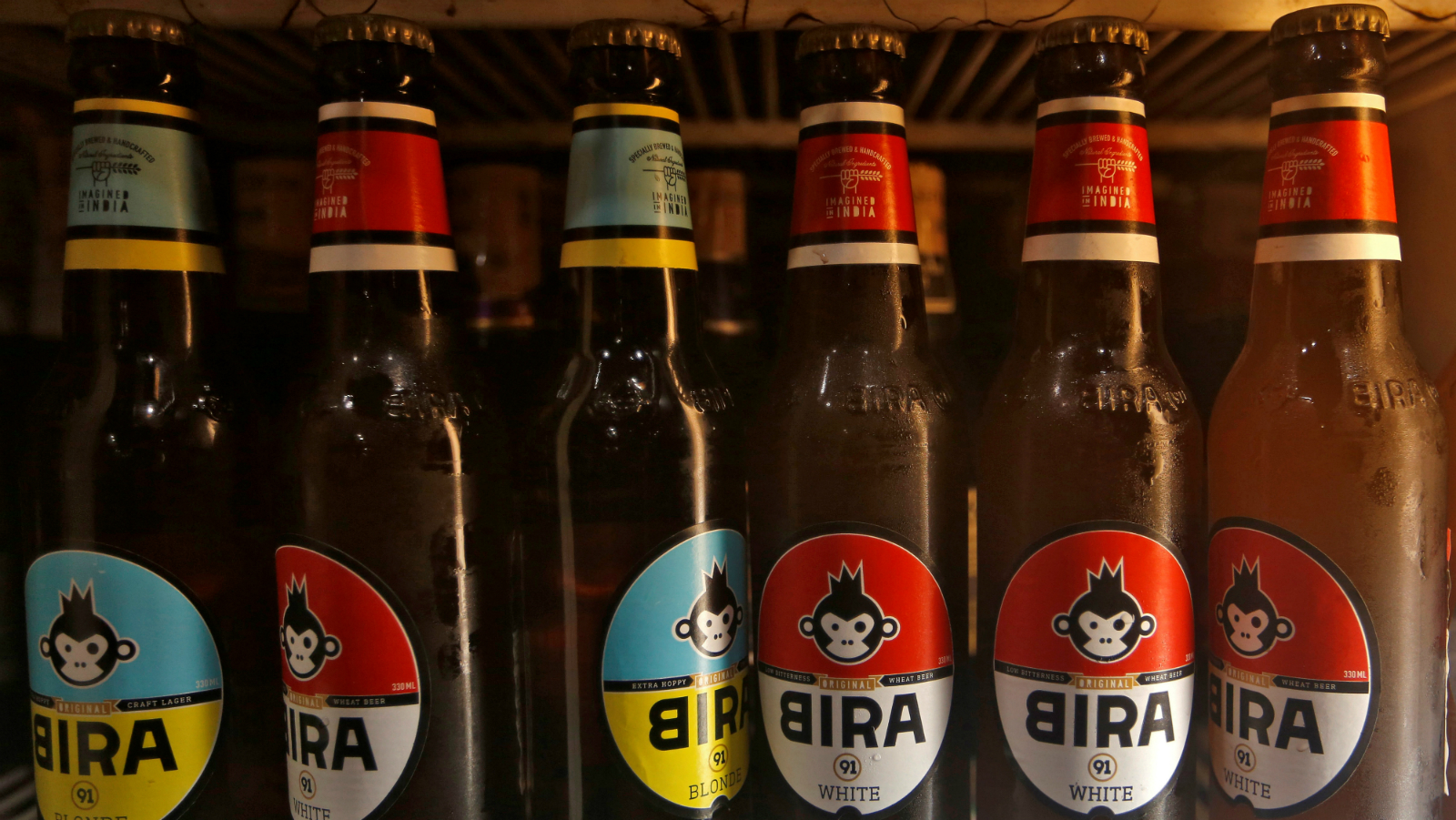 Bira beer bottles are pictured at a liquor store in Mumbai, India March 23, 2018.