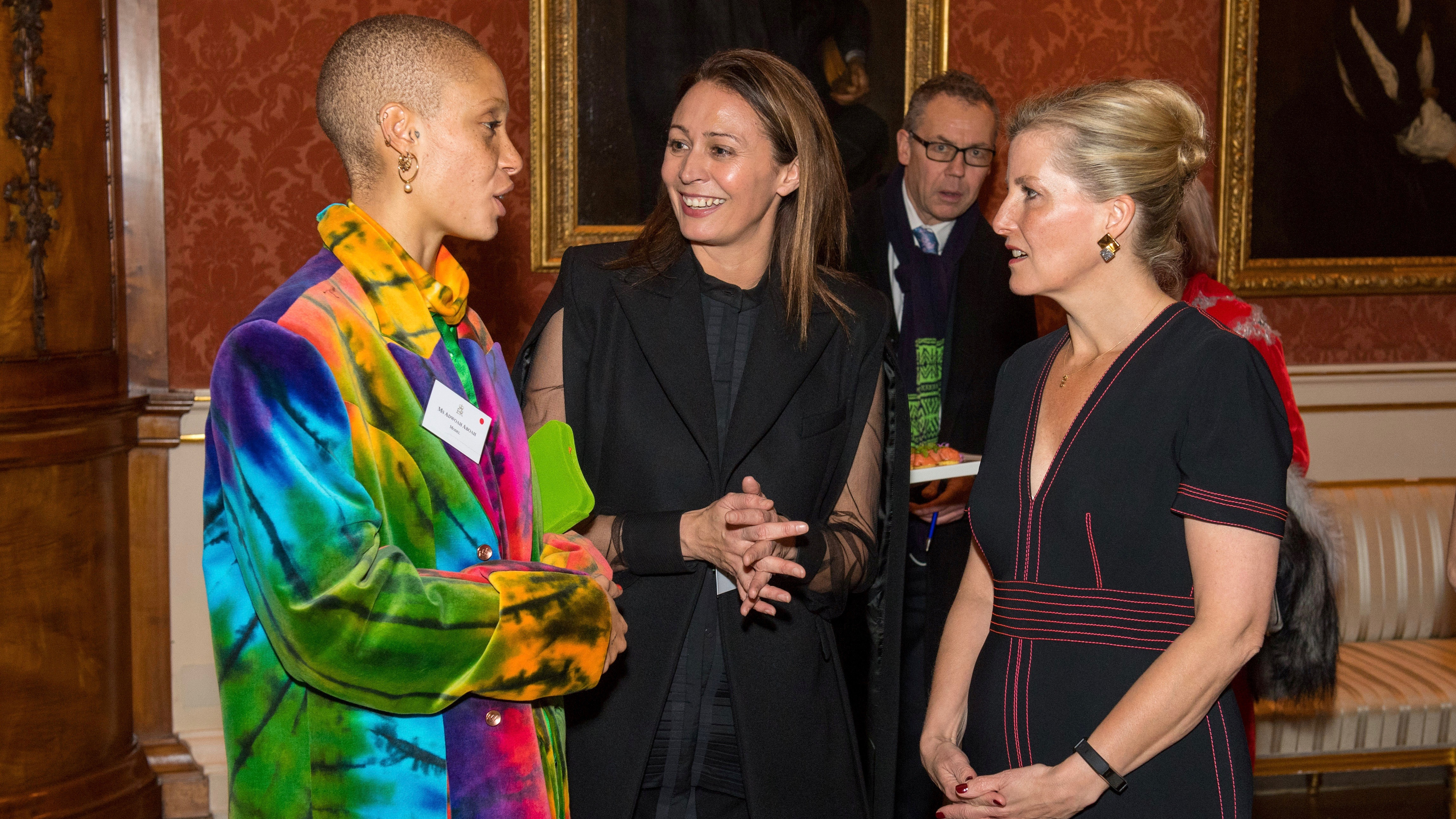 Royalty and models at the British Fashion Exchange.