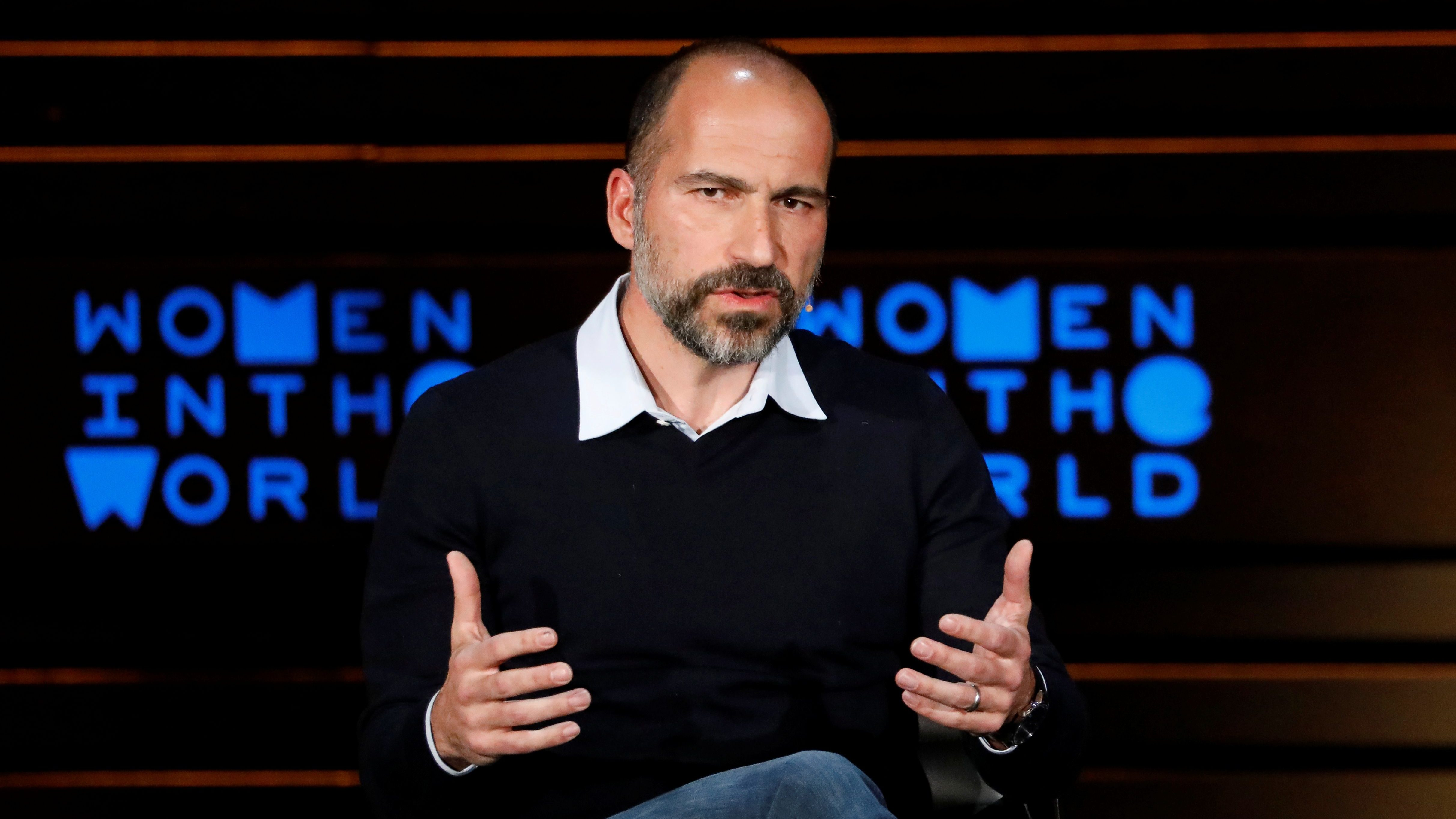 Uber CEO Dara Khosrowshahi  speaks with Journalist Tina Brown during the Women In The World Summit in New York City, U.S., April 12, 2018. REUTERS/Brendan McDermid - RC1F4D3A9750