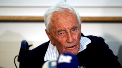 David Goodall, 104, at a news conference the day before his assisted suicide, in Basel, Switzerland.