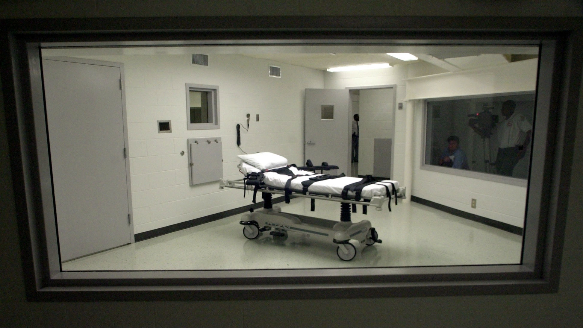 This Oct. 7, 2002 file photo shows Alabama's lethal injection chamber at Holman Correctional Facility in Atmore, Ala. Democratic state Sen. Hank Sanders has unsuccessfully introduced bills year after year to end capital punishment in his Southern state. The 74-year-old opponent of the death penalty tells The Associated Press that his proposals have no chance in a state that clings to capital punishment but he believes it's morally right to end it.