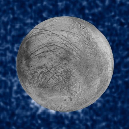 An image from Hubble Space Telescope data shows hints of water plumes rising from Europa.