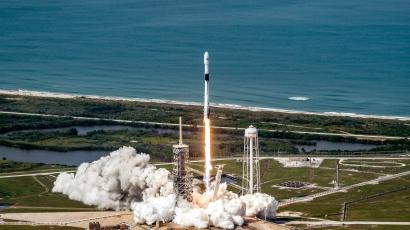 The first Falcon 9 Block 5 rocket lifts off on May 11, 2018.