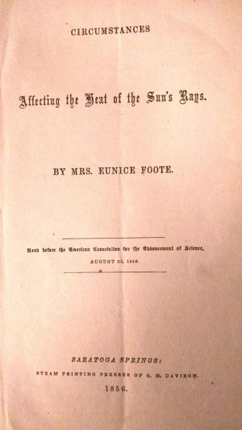 Eunice Foote's groundbreaking 1856 paper on the greenhouse gas effect.
