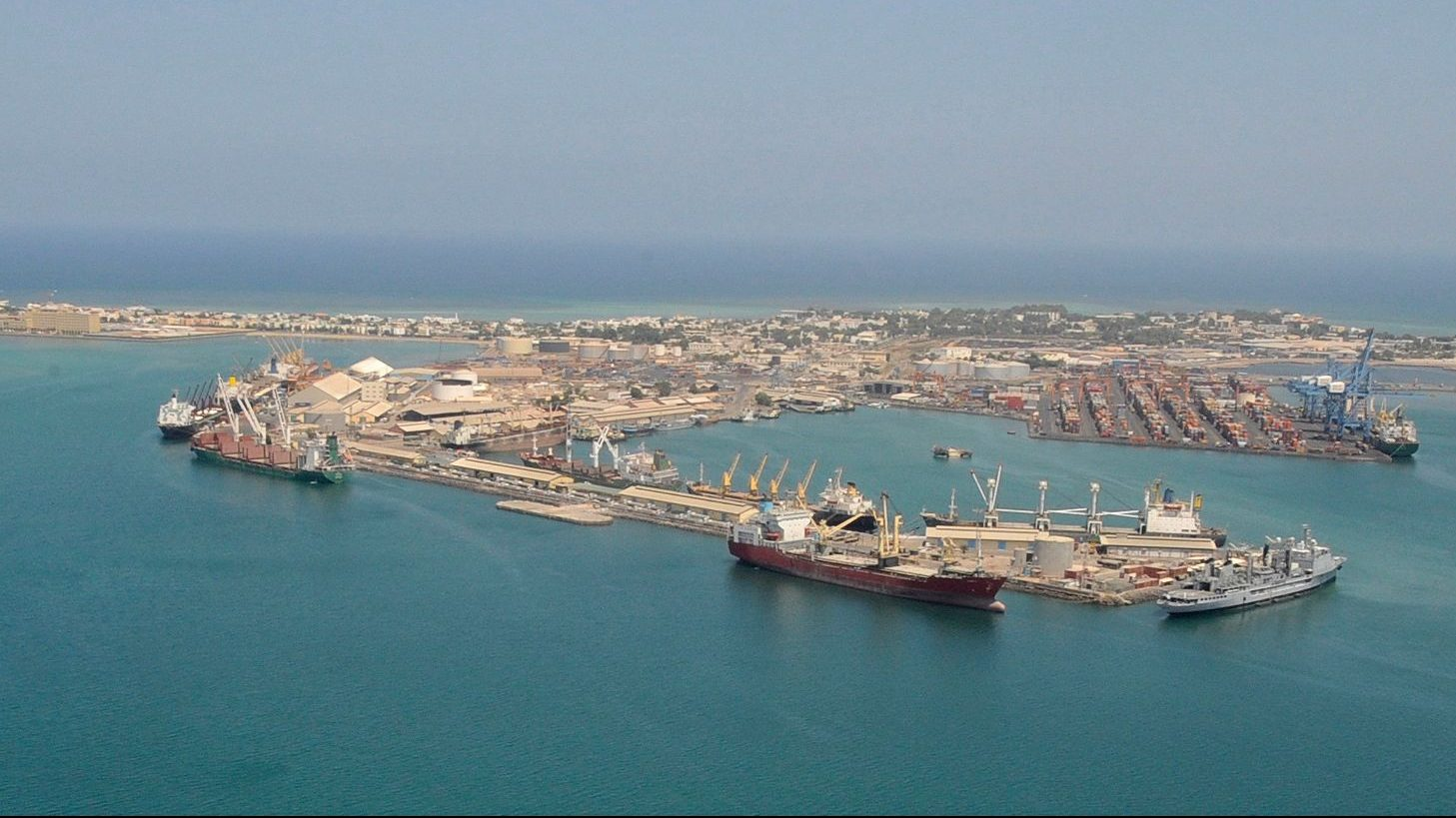 shipping ships seen off the coast of Djibouti in the Gulf of Aden