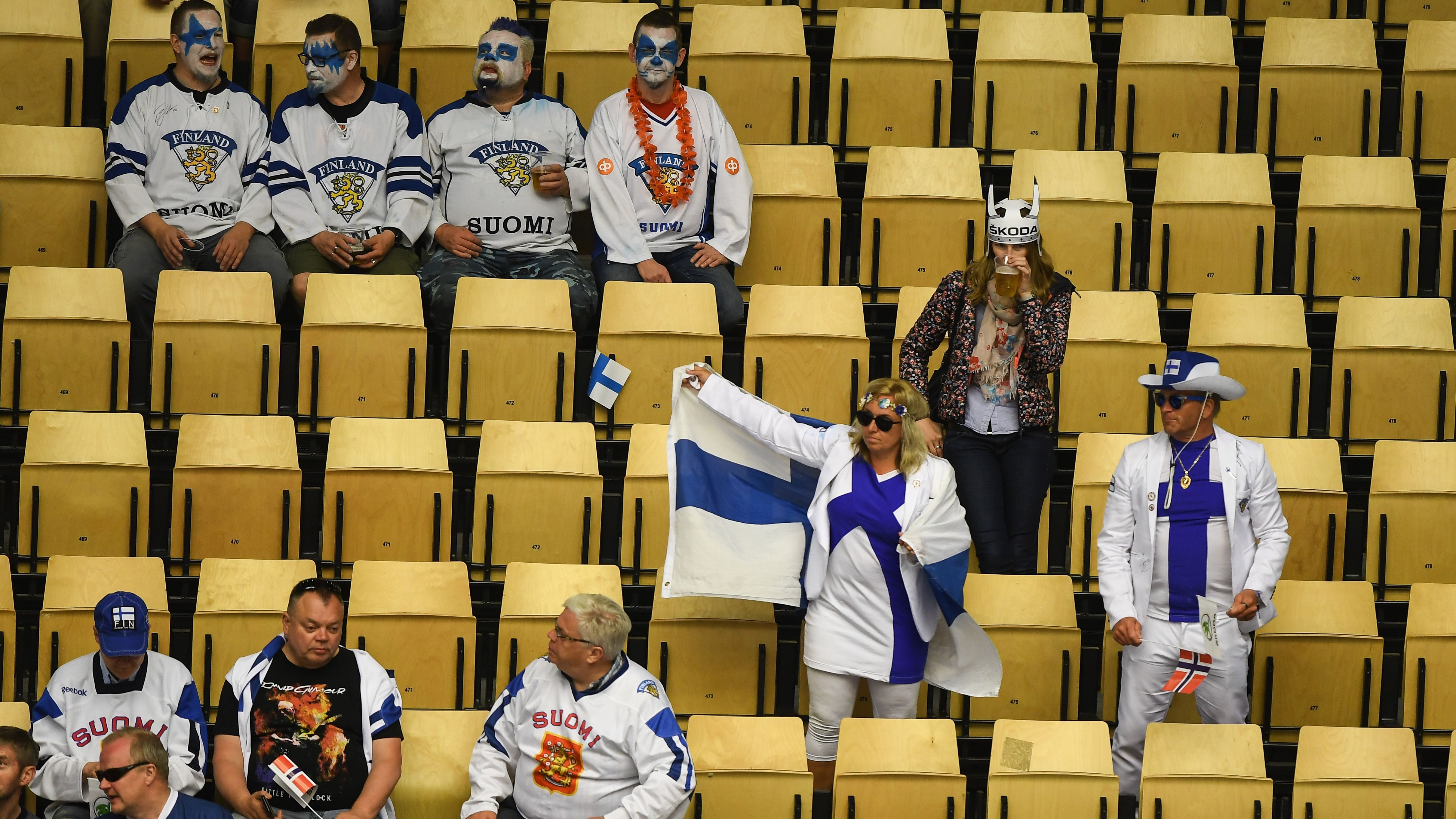 Supporters of Finland during the IIHF World Championship group B ice hockey match between Finland and Norway in Jyske Bank Boxen in Herning, Denmark, 08 May 2018.