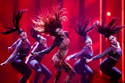 "Eleni Foureira representing Cyprus with ""Fuego"" at the 2018 Eurovision Song Contest"