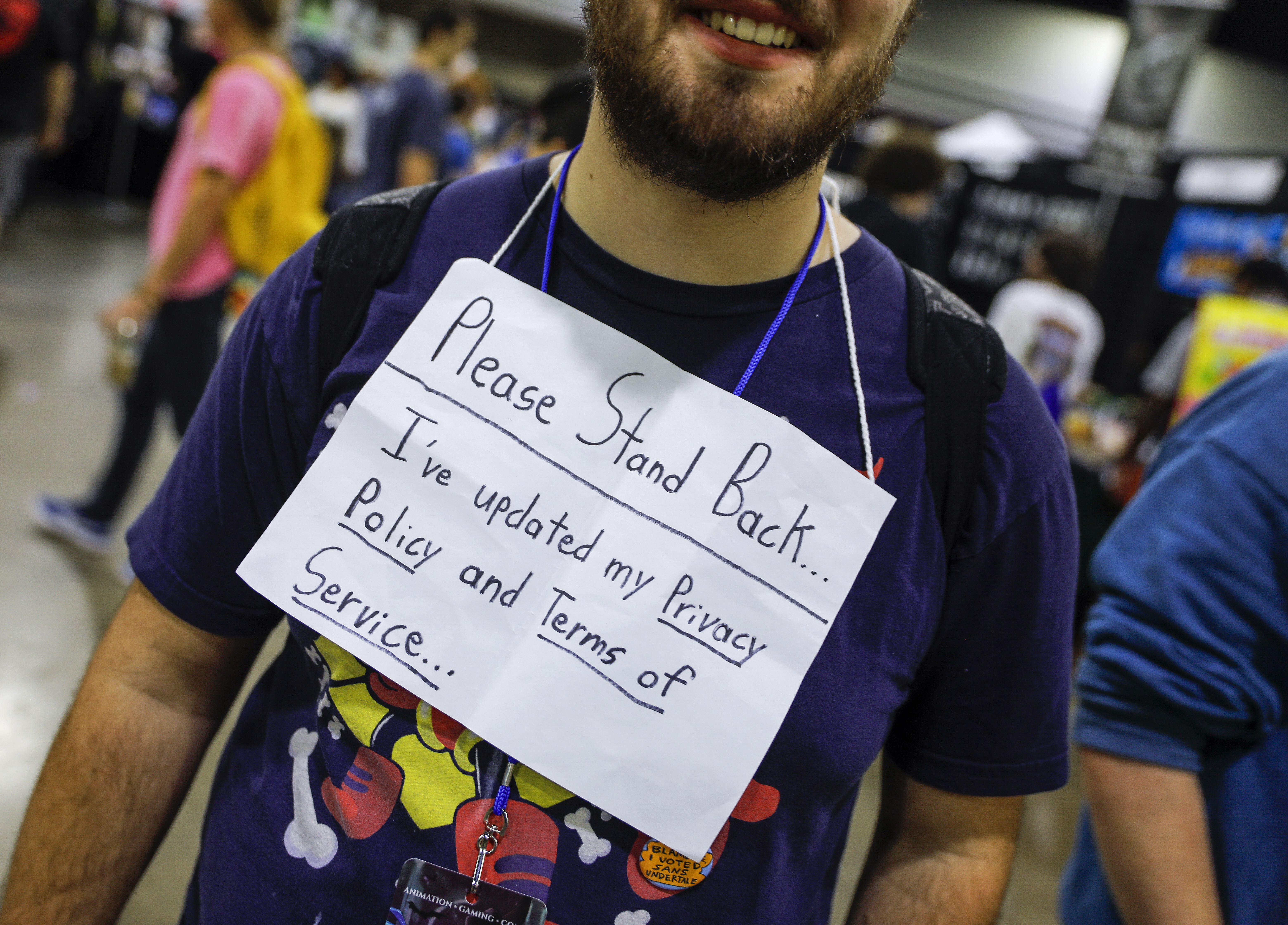 epa06767700 A costumed participant comments on the new General Data Protection Regulation implementation, GDPR, while attending the Momocon anime and gaming convention at the Georgia World Congress Center in Atlanta, Georgia, USA, 27 May 2018. The four-day gathering features many cosplay costumed participants.  EPA-EFE/ERIK S. LESSER