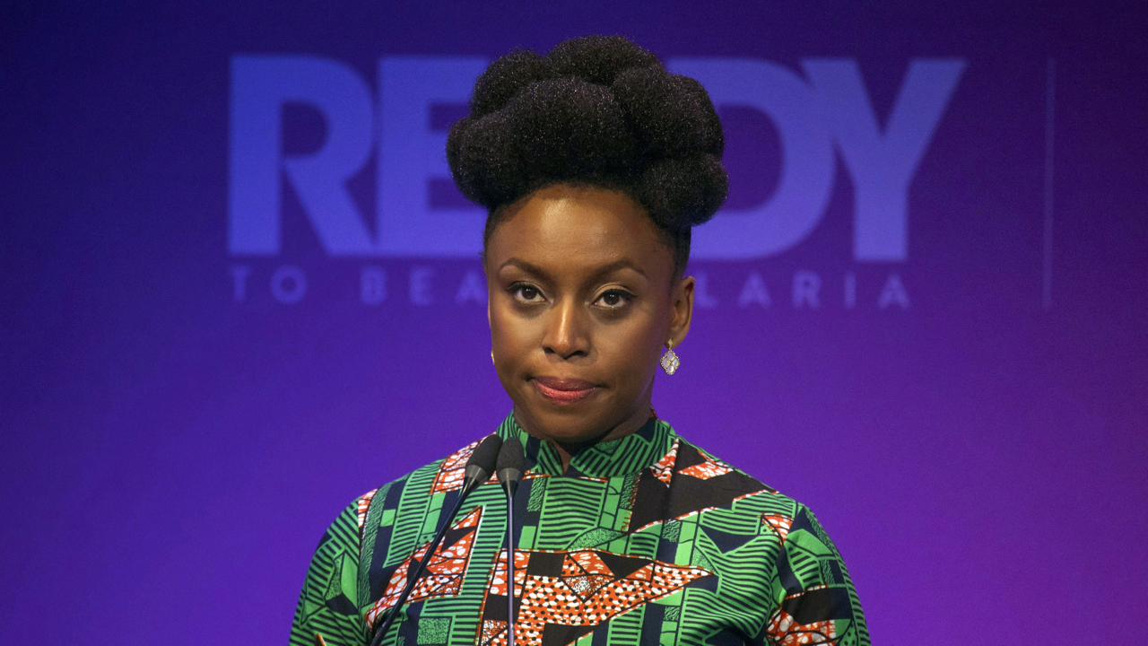 Writer Chimamanda Ngozi Adichie speaks at the Malaria Summit in 8 Northumberland Avenue, London, during the Commonwealth Heads of Government Meeting. PRESS ASSOCIATION Photo. Picture date: Wednesday April 18, 2018. See PA story ROYAL Commonwealth. Photo credit should read: Dominic Lipinski/PA Wire
