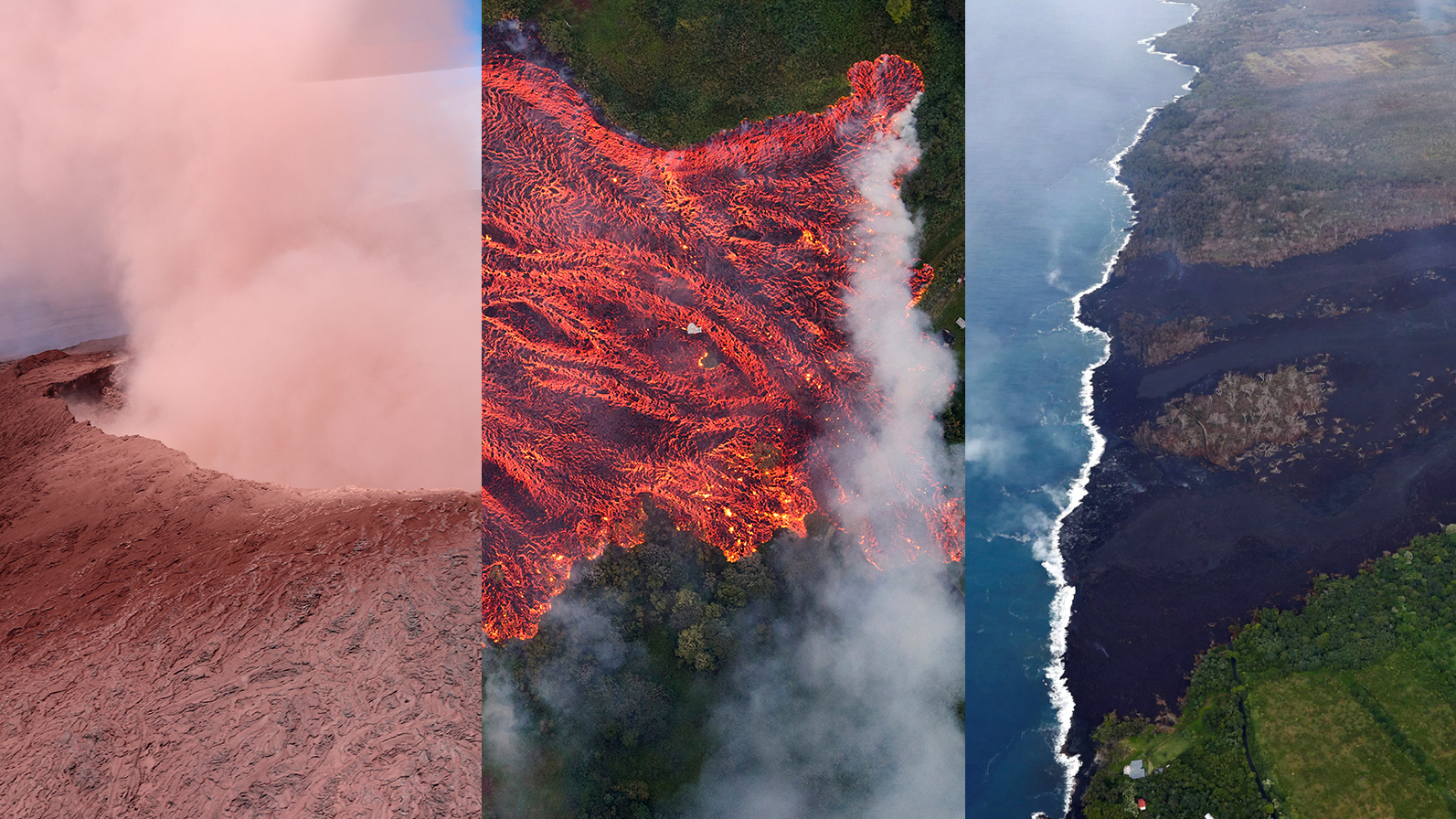 How has almost a month of creeping lava changed the Hawaiian landscape?