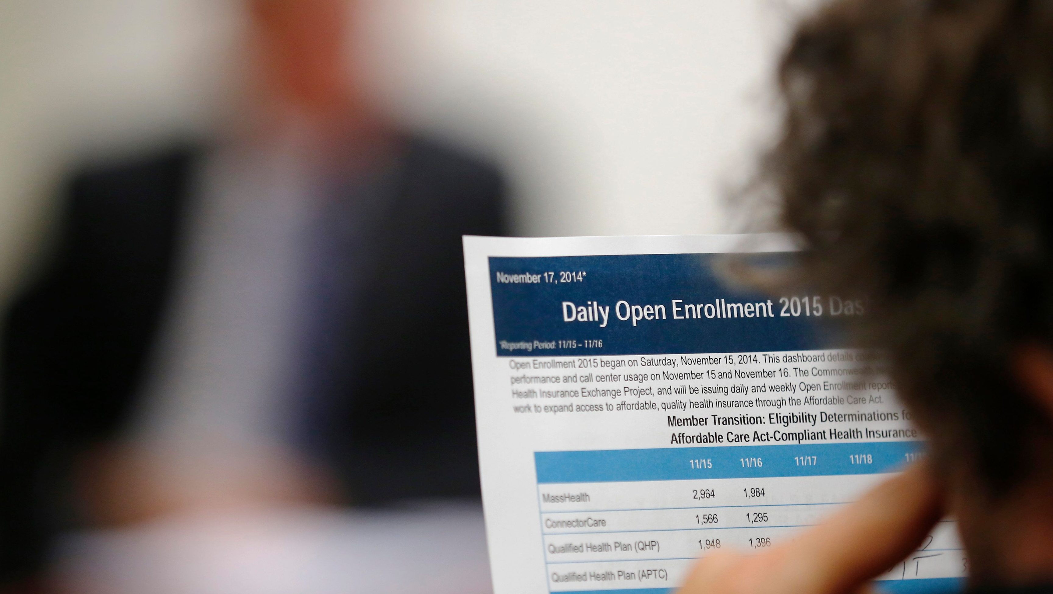"""A reporter reads a summary of the performance and usage over the first two days of open enrollment of the Massachusetts Health Connector website, the state's health insurance website under the Affordable Care Act or Obamacare, during a briefing for reporters in Boston, Massachusetts November 17, 2014.  U.S. President Barack Obama on Sunday defended the transparency of his signature healthcare law, after one of the White House's advisors on the reform said the law passed, in part, because of the """"stupidity"""" of the American voters."""