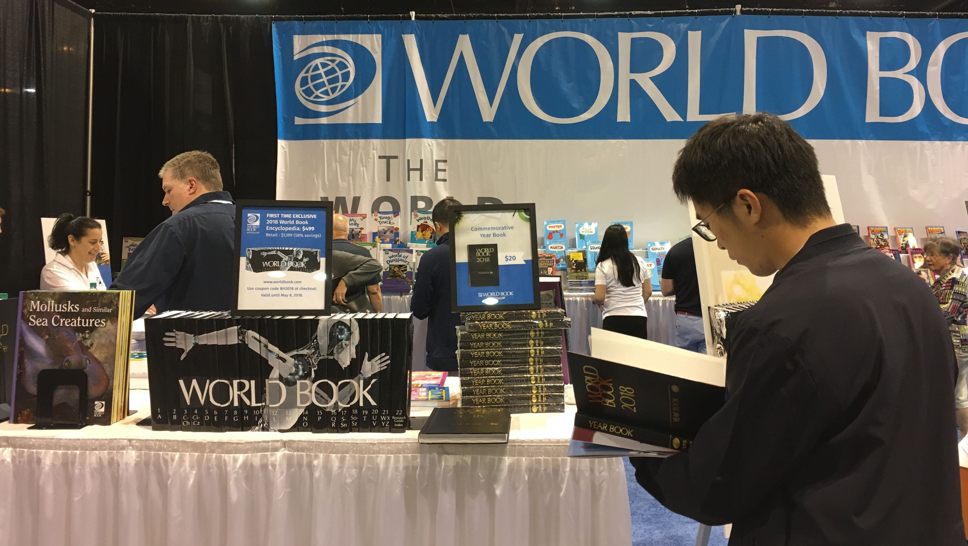 The World Book display at the Shareholder Shopping Day at the 2018 Berkshire Hathaway annual meeting, CenturyLink Center, Omaha, Nebraska, May 4, 2018.