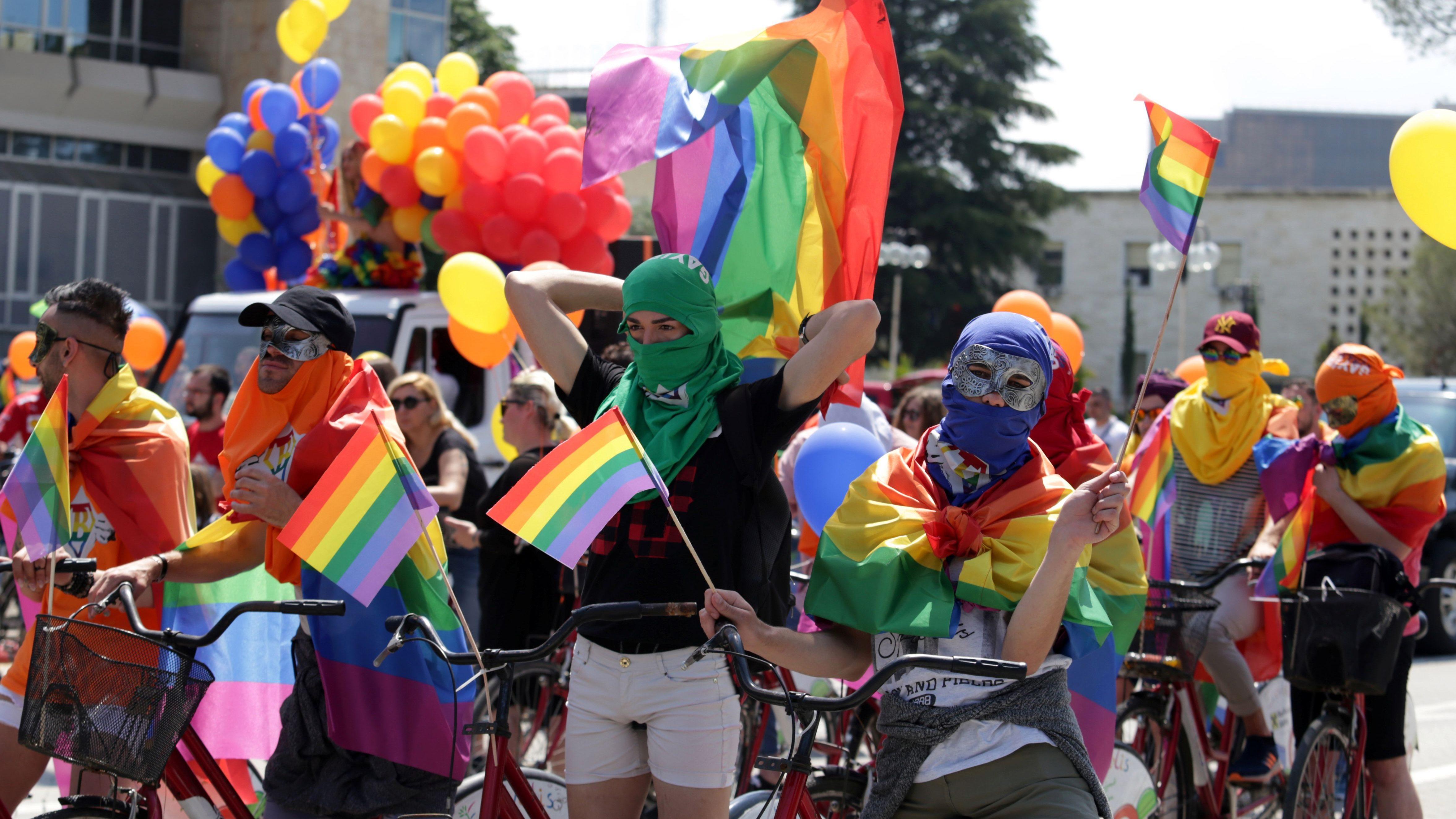 LGBT rights activists react during the Tirana Gay (P)Ride in Tirana Albania