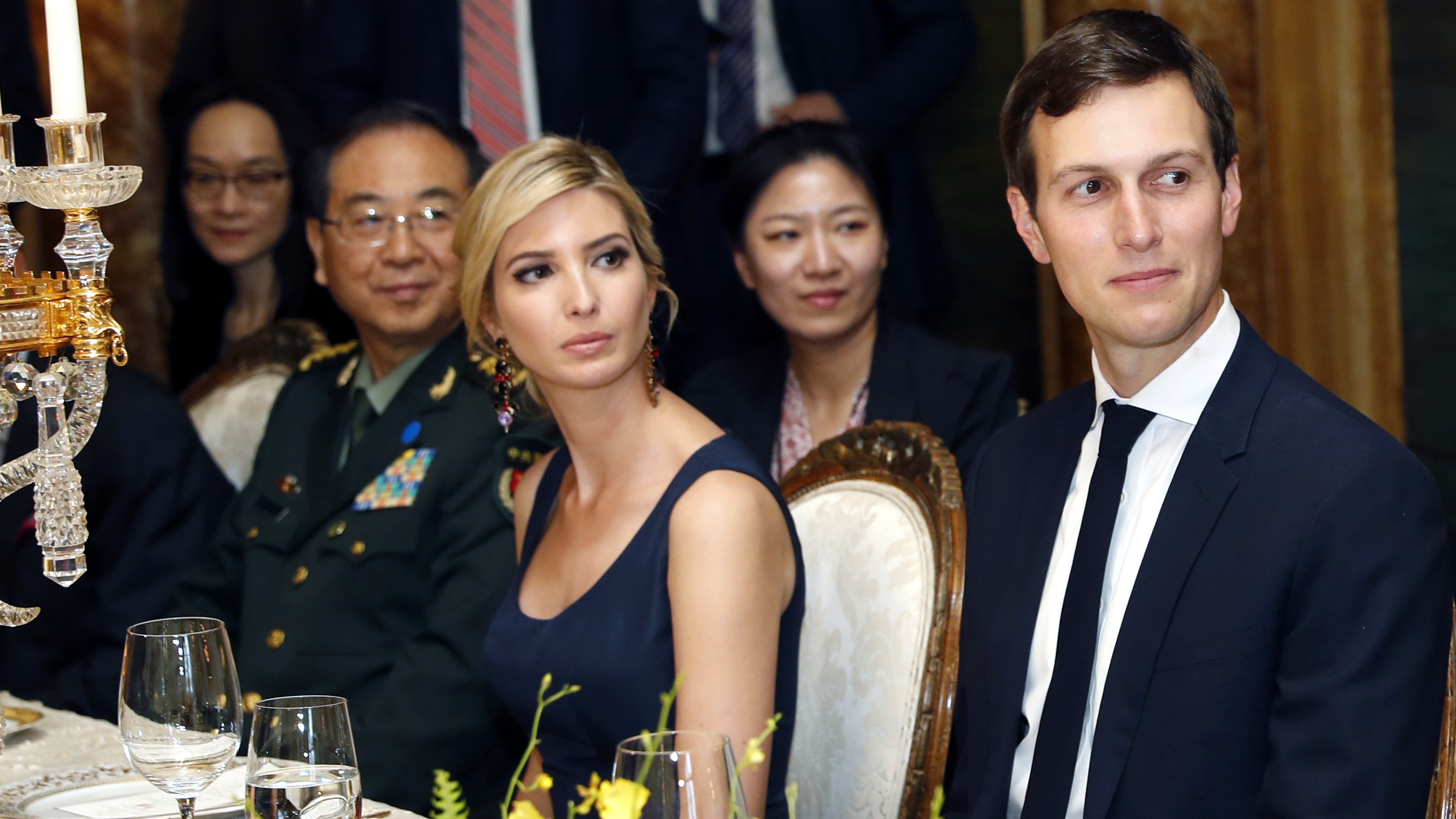 Ivanka Trump, second from right, the daughter and assistant to President Donald Trump, is seated with her husband White House senior adviser Jared Kushner, right, during a dinner with President Donald Trump and Chinese President Xi Jinping, at Mar-a-Lago, Thursday, April 6, 2017, in Palm Beach, Fla.