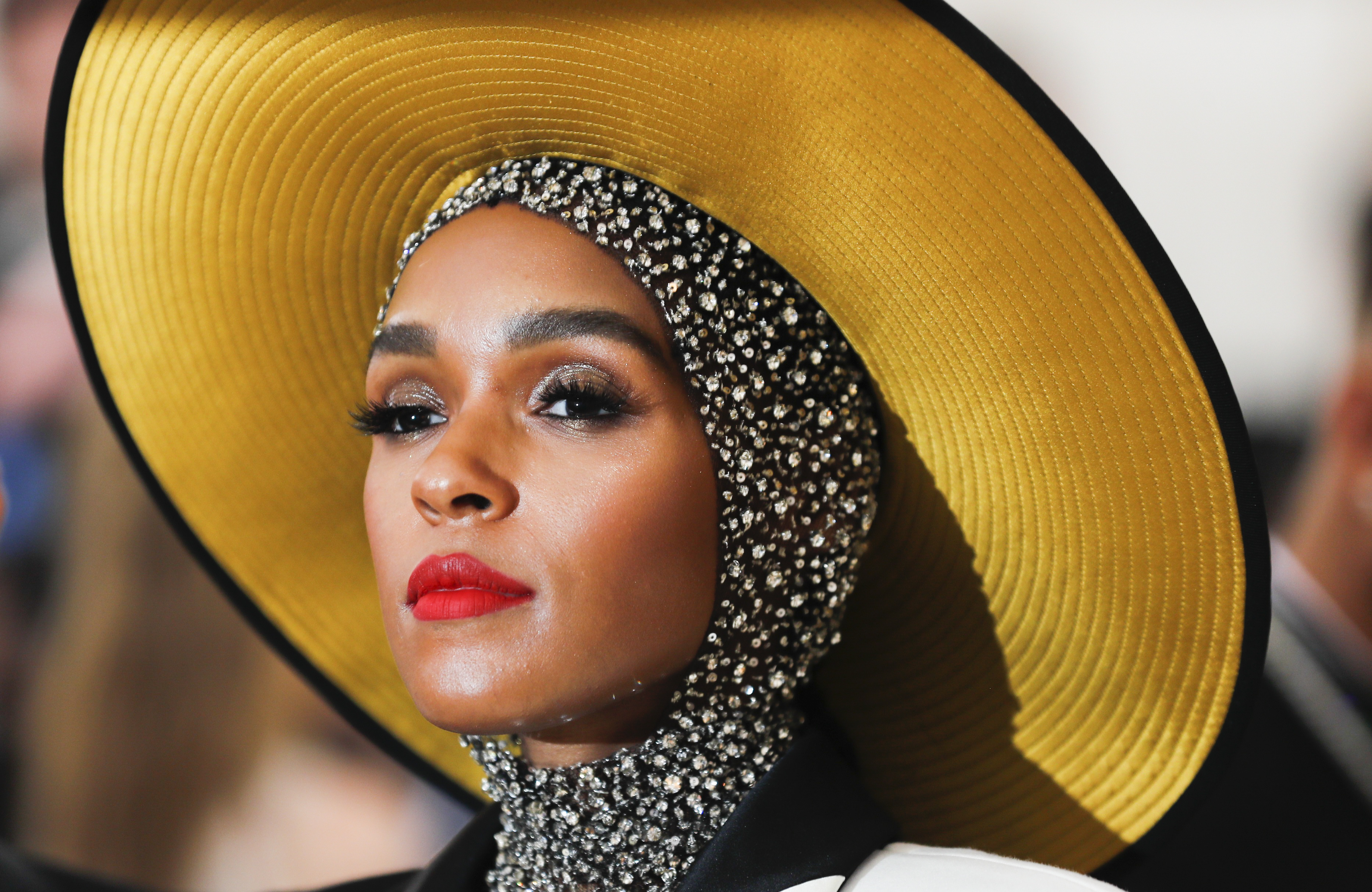 """Singer-Songwriter Janelle Monae arrives at the Metropolitan Museum of Art Costume Institute Gala (Met Gala) to celebrate the opening of """"Heavenly Bodies: Fashion and the Catholic Imagination""""."""