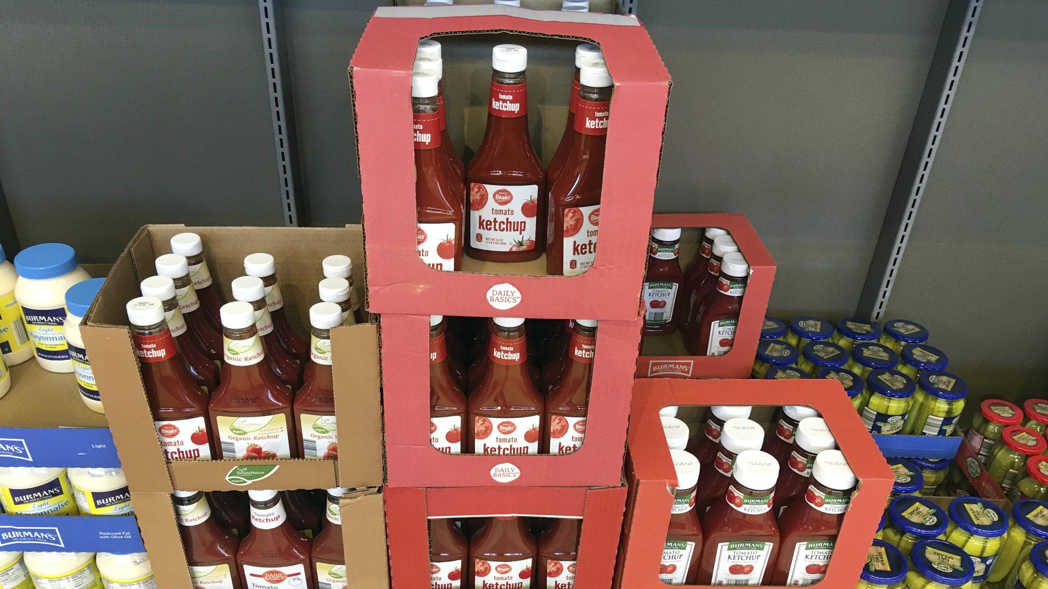 ketchup and mayo on shelf