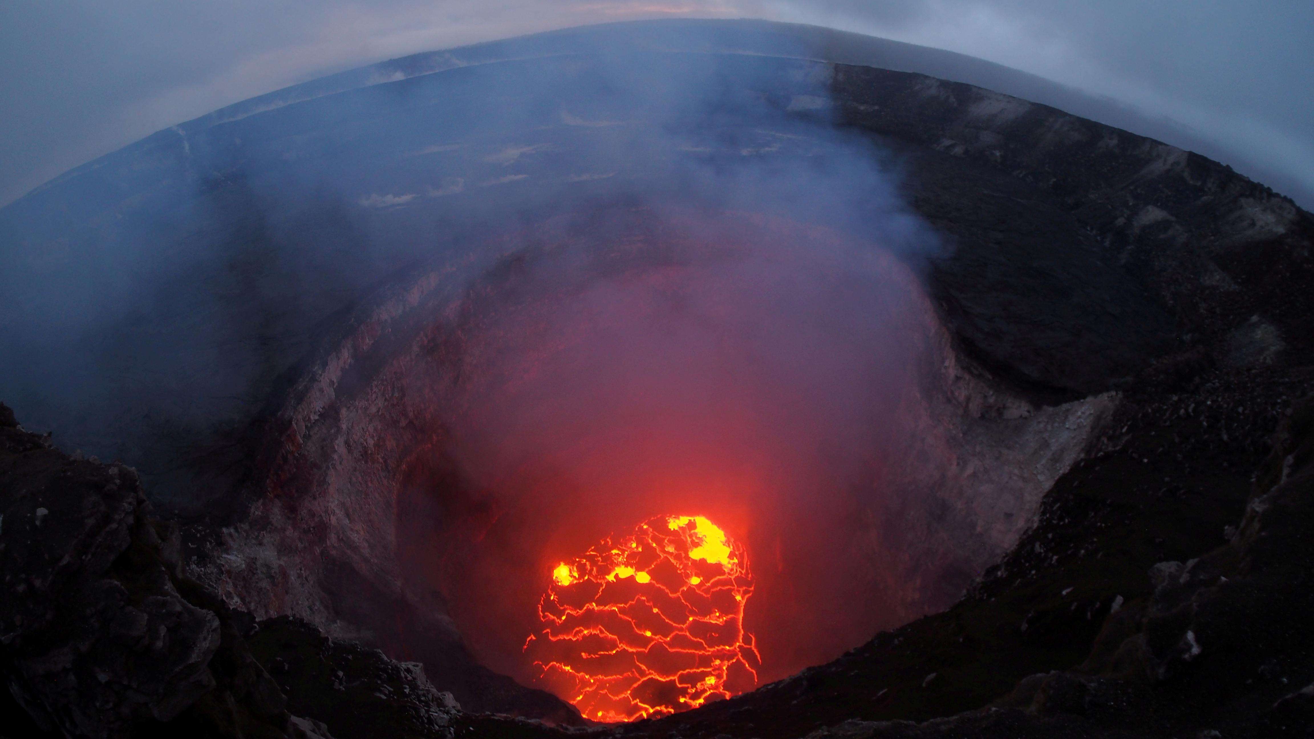 Magma lake at Kilauea's crater.