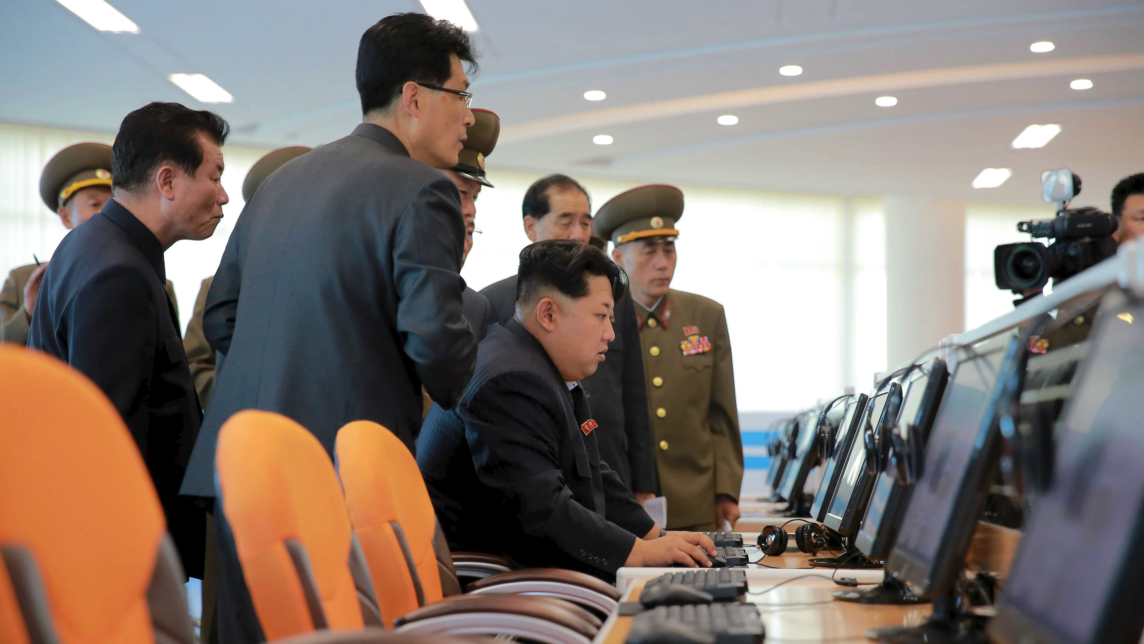 North Korean leader Kim Jong Un gives field guidance at the Sci-Tech Complex, in this undated photo released by North Korea's Korean Central News Agency