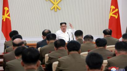 North Korean leader Kim Jong Un speaks during The first enlarged meeting of the seventh Central Military Commission of the Workers' Party of Korea (WPK), in this undated photo released by North Korea's Korean Central News Agency (KCNA) in Pyongyang May 18, 2018.
