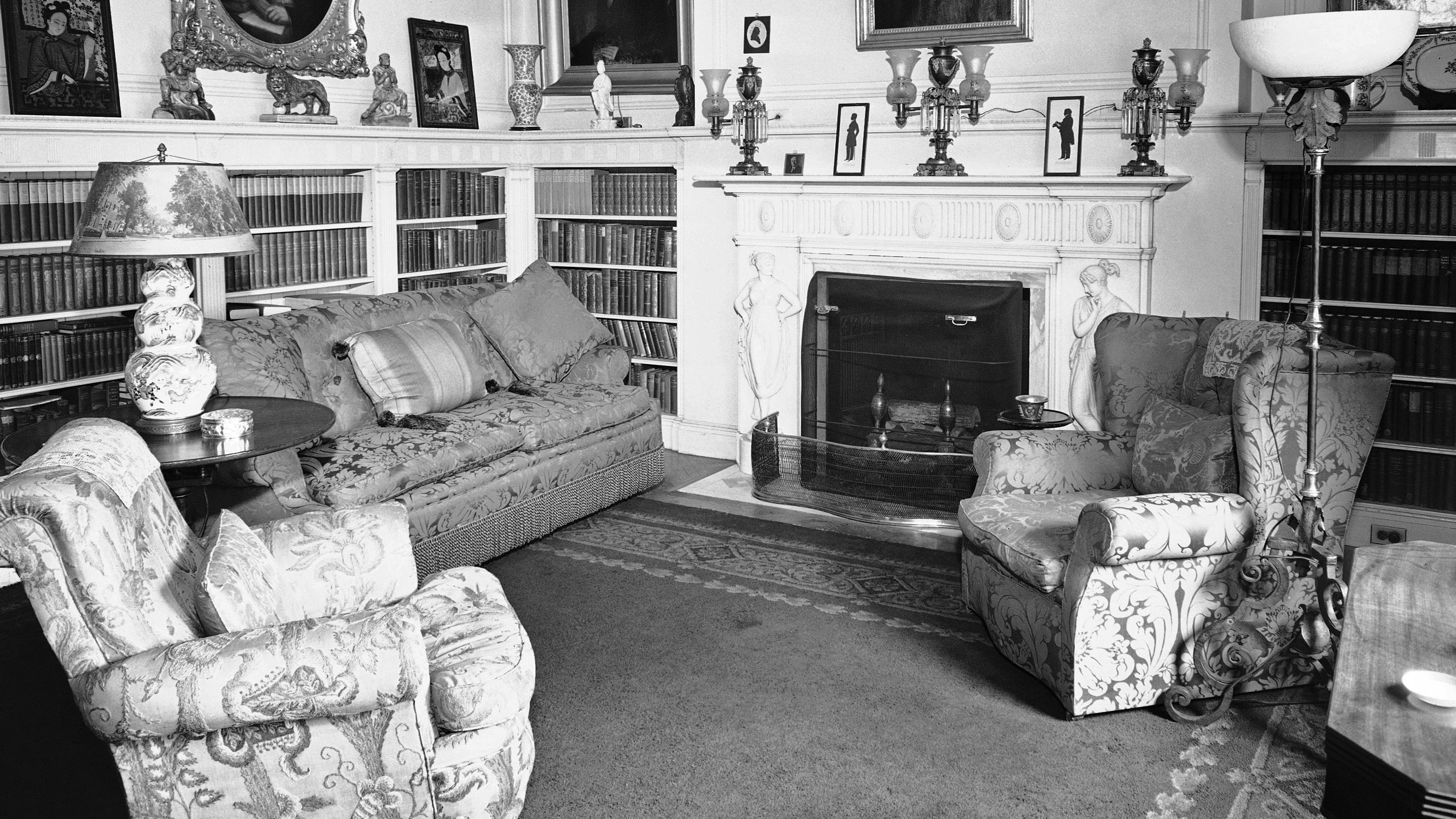 The corner of the spacious library adjoining the master bedroom at Blair House is shown, July 19, 1942. It is used as a sitting room by royal visitors.
