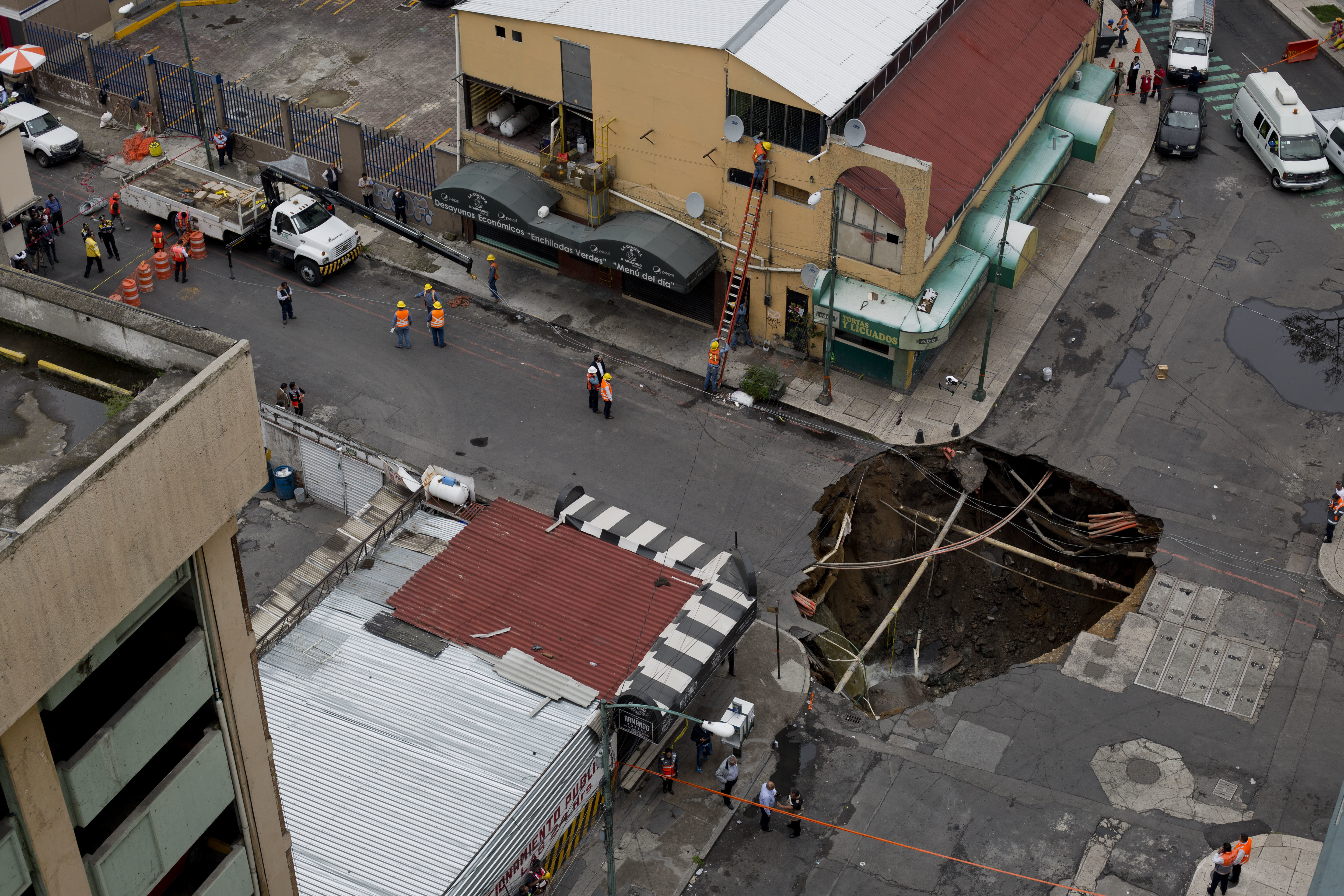 An enormous, 30-foot-wide sinkhole opened in downtown Mexico City in August, 2017.