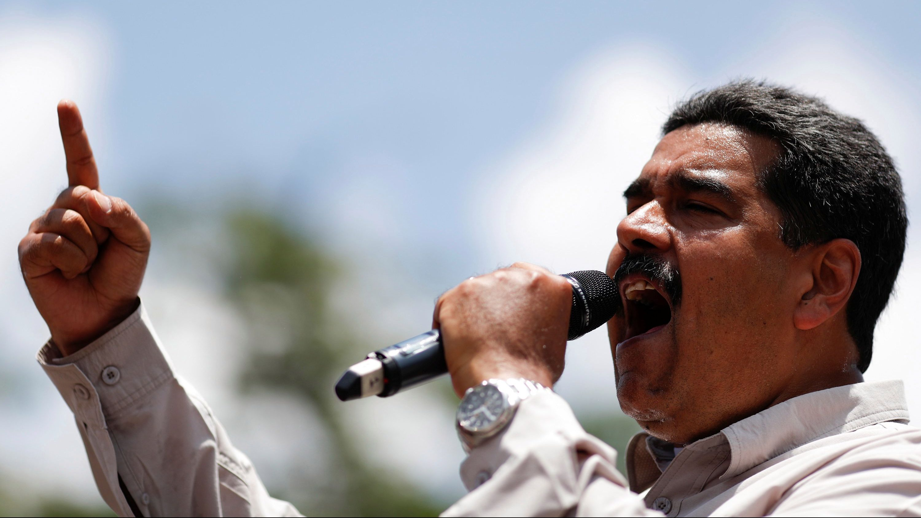 Venezuela's President Nicolas Maduro delivers a speech to supporters during a campaign rally in Charallave, Venezuela May 15, 2018.