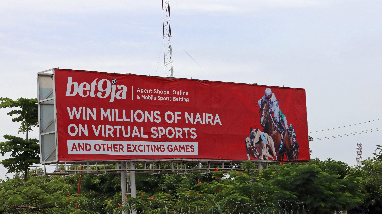 Nigerian sports betting billboard.