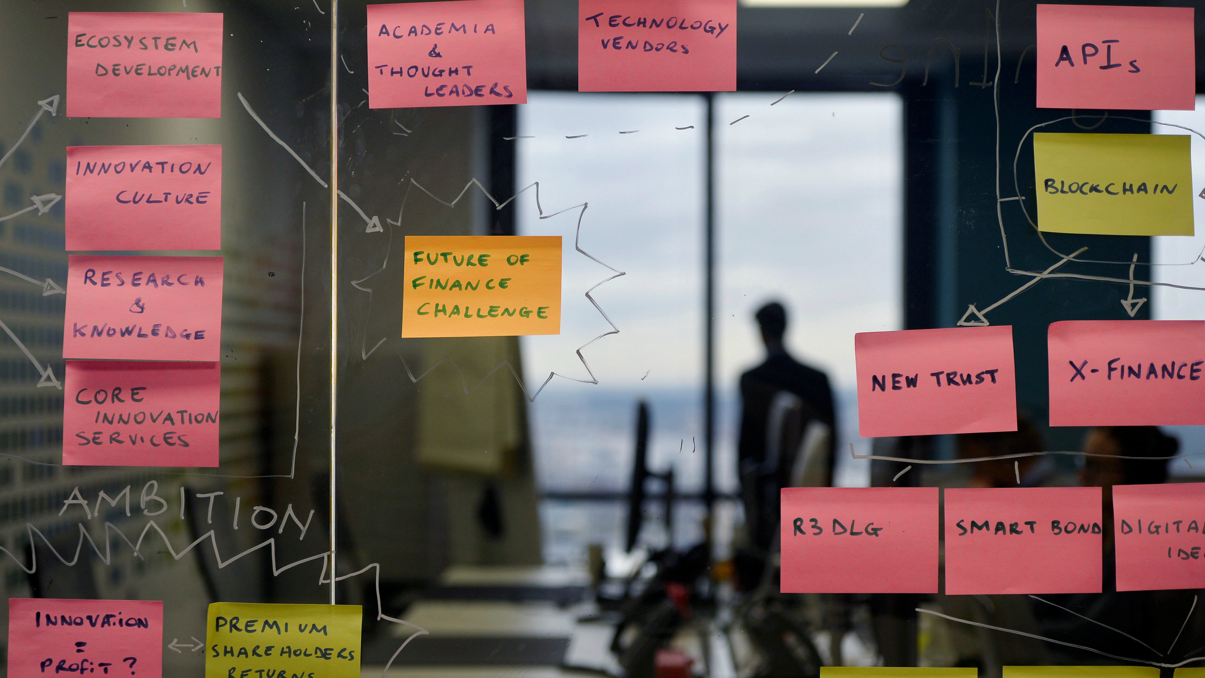 """Post-it notes are displayed in the UBS """"fintech lab"""" at Canary Wharf in London, Britain, October 19, 2016."""
