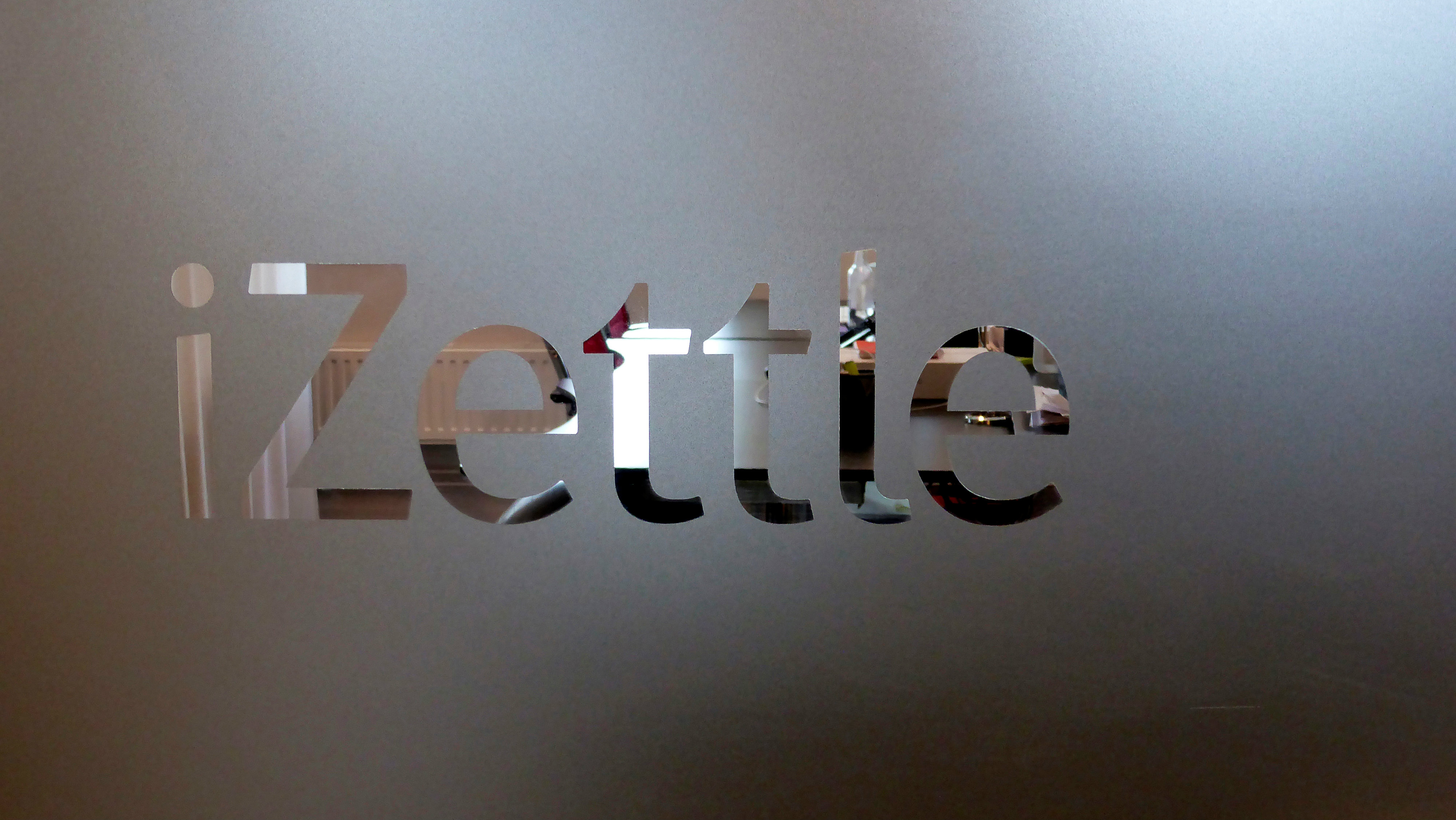 A logo of the iZettle company is pictured in the headquarters in Stockholm, Sweden, August 12, 2016. Picture taken August 12, 2016.