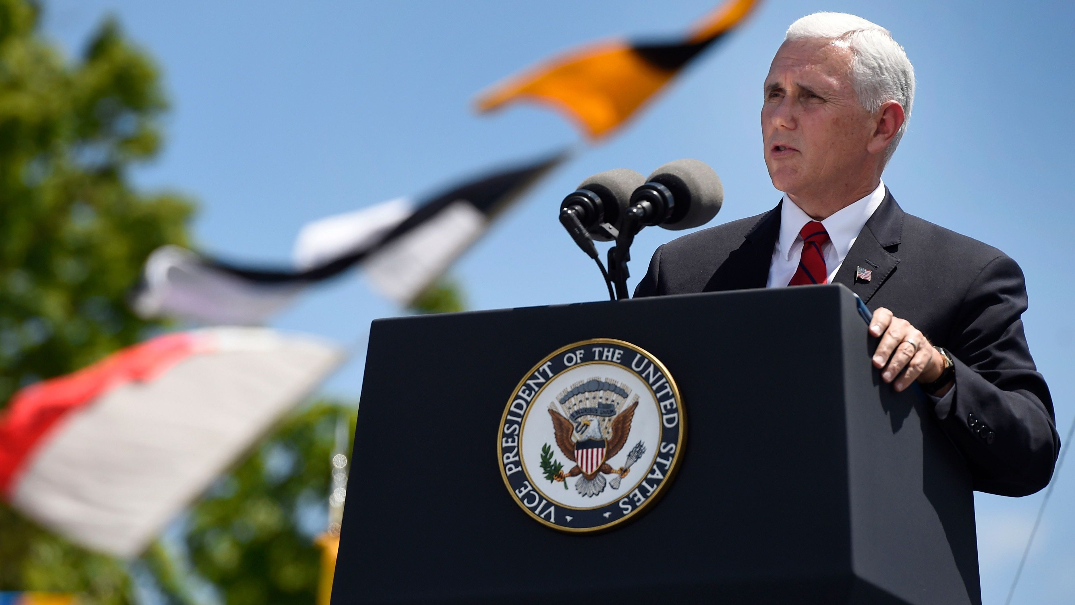 Vice President Mike Pence speaks at the commencement for the United States Coast Guard Academy in New London, Conn., Wednesday, May 23, 2018. (AP Photo/Jessica Hill)