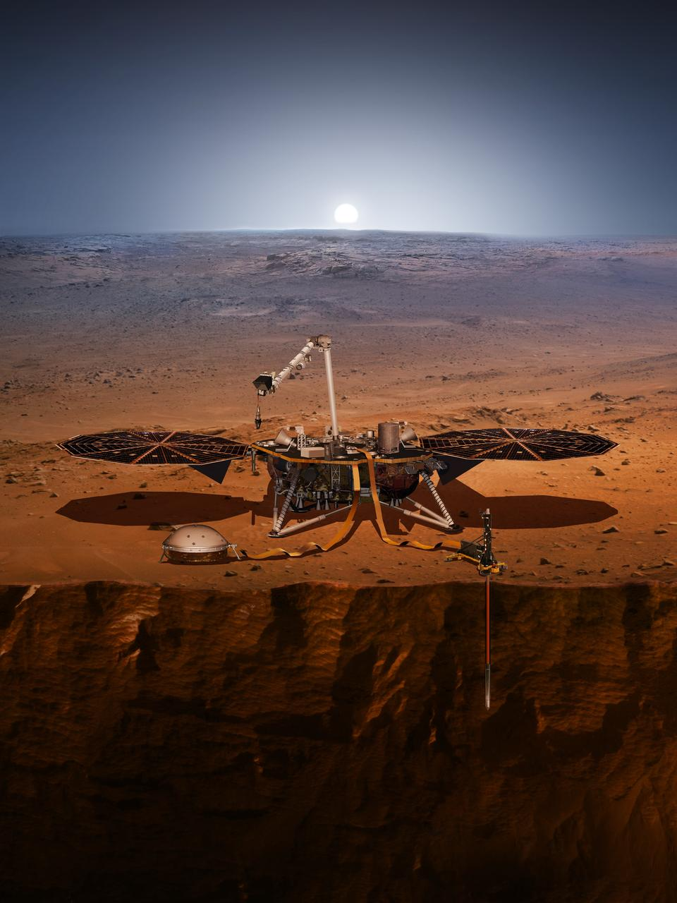A rendering of the Mars InSight rover at work.