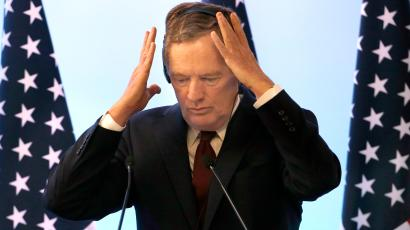 U.S. Trade Representative Robert Lighthizer adjusts his headsead during a press conference regarding the seventh round of NAFTA renegotiations in Mexico City, Monday, March 5, 2018.