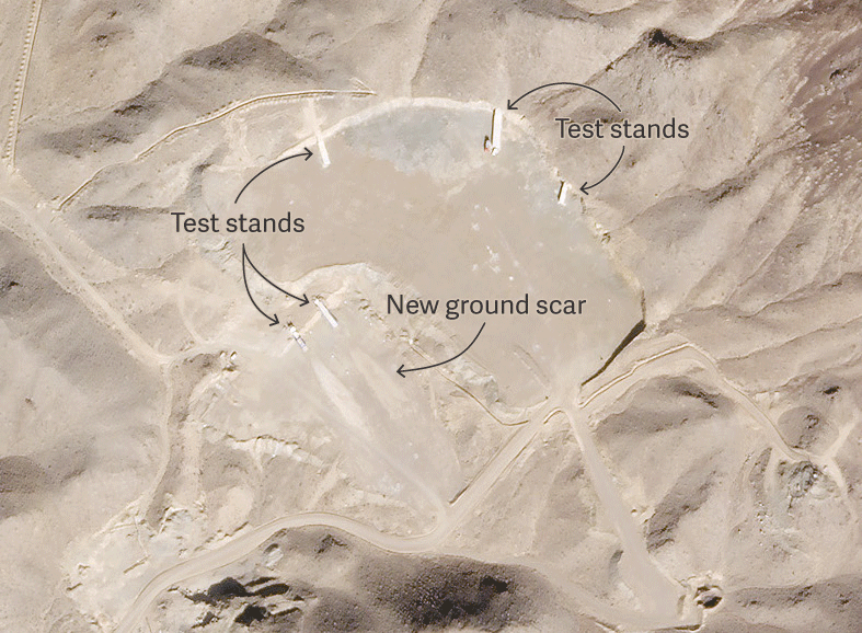An area where solid rocket boosters are tested in northern Iran.