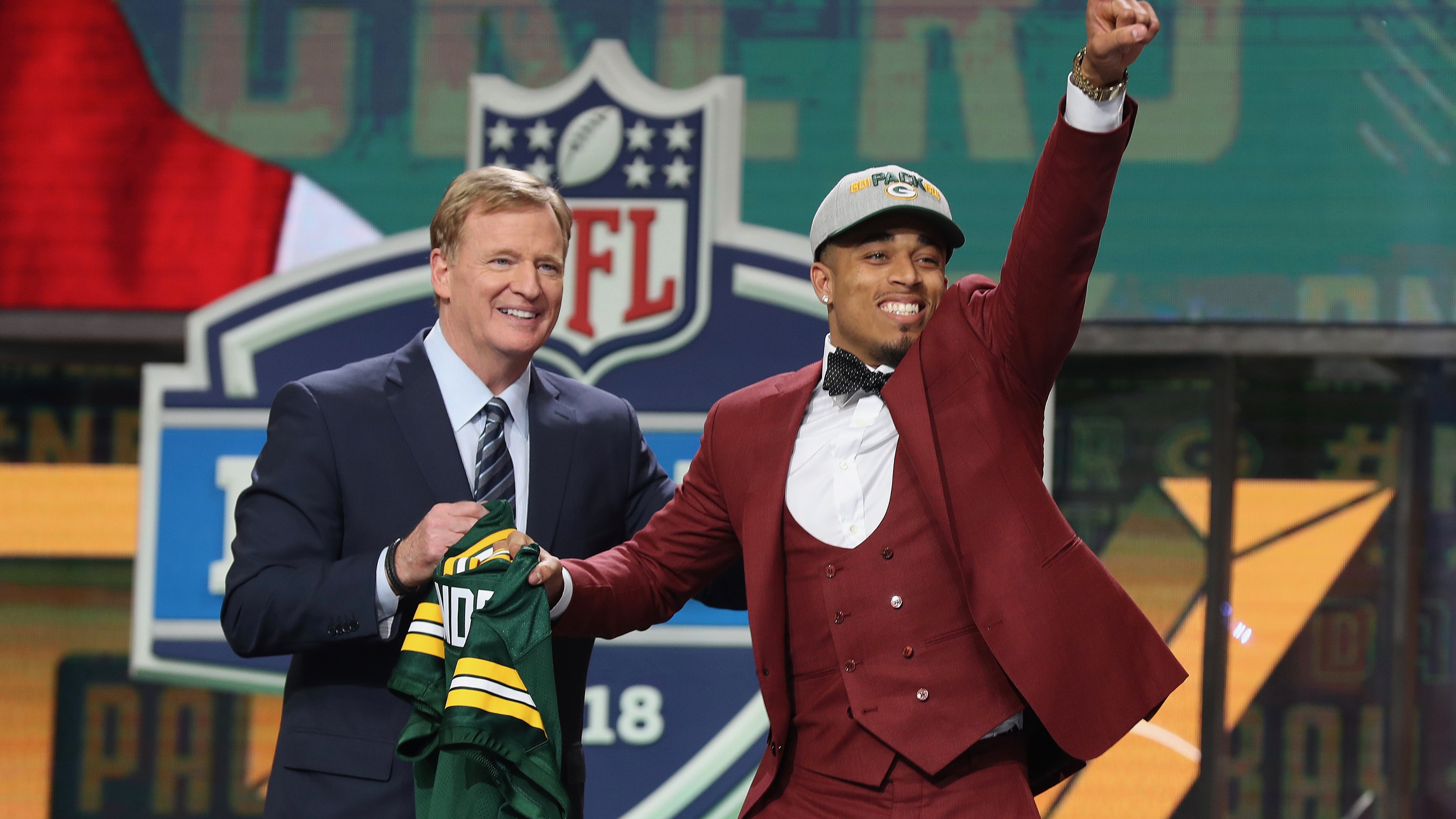 NFL commissioner Roger Goodell with Jaire Alexander as he is selected for the Green Bay Packers in April 2018.