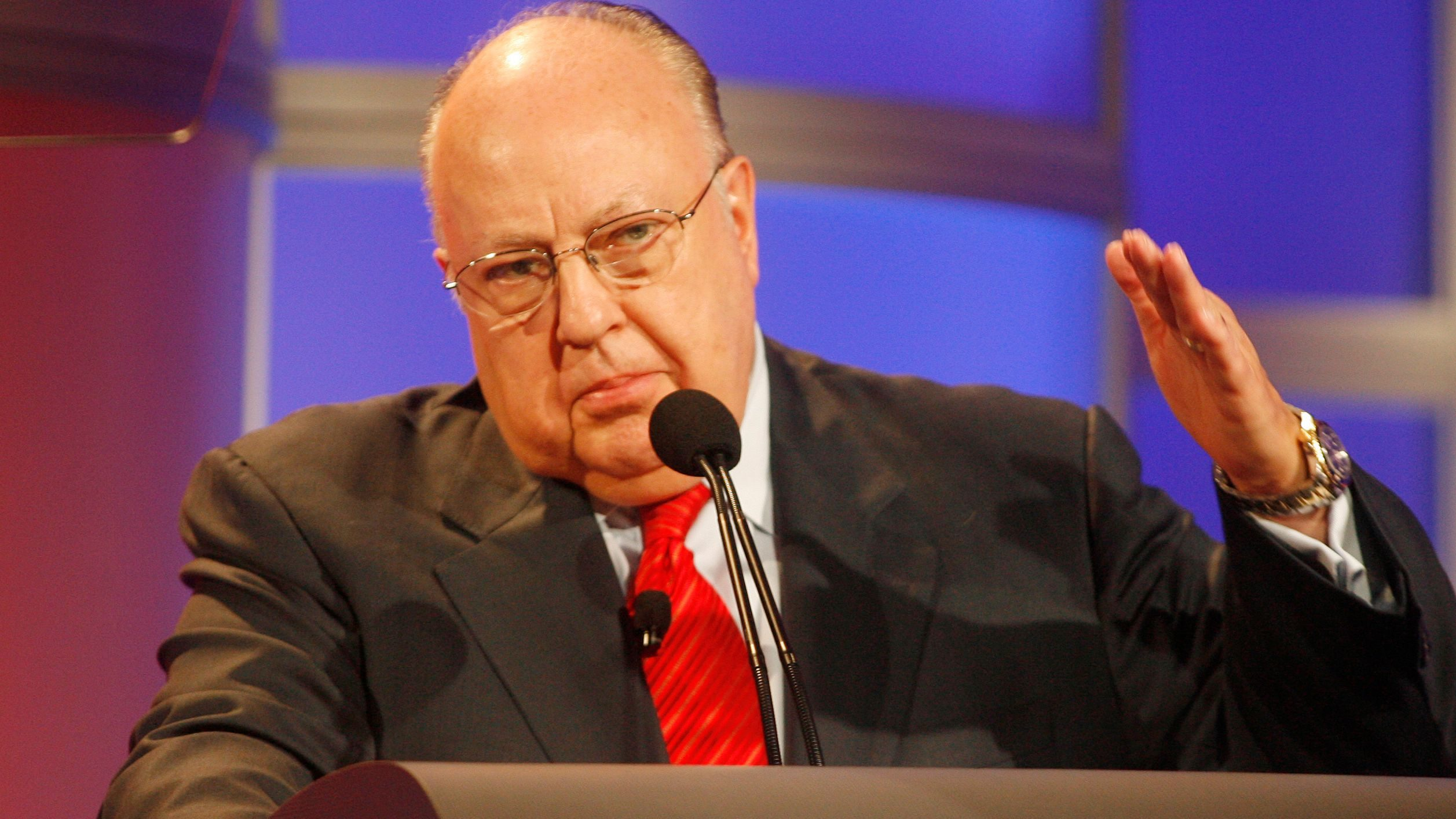 Roger Ailes, chairman and CEO of Fox News answers questions during panel discussion at Television Critics Association summer press tour in Pasadena