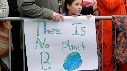 Protesters line Central Park West during the Earth Day 'March For Science NYC' demonstration to coincide with similar marches globally in Manhattan, New York, U.S.