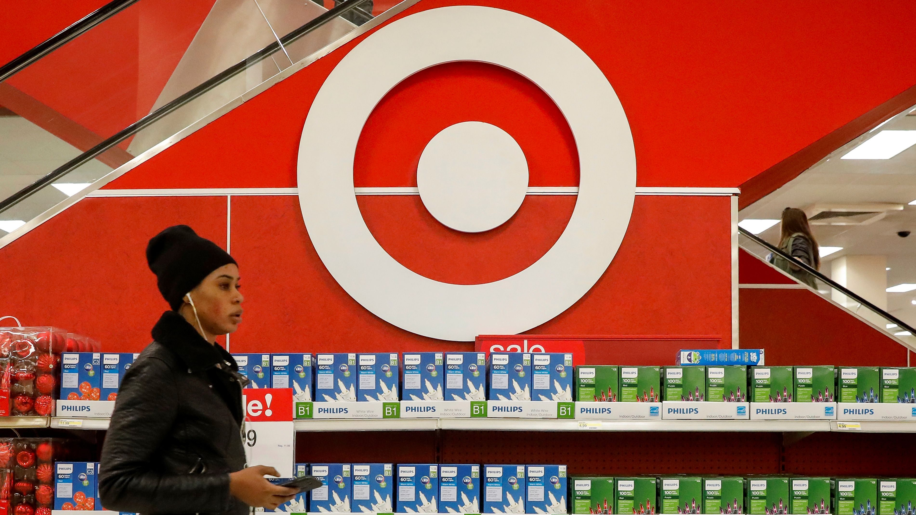 Shoppers are seen in a Target store in the Brooklyn borough of New York