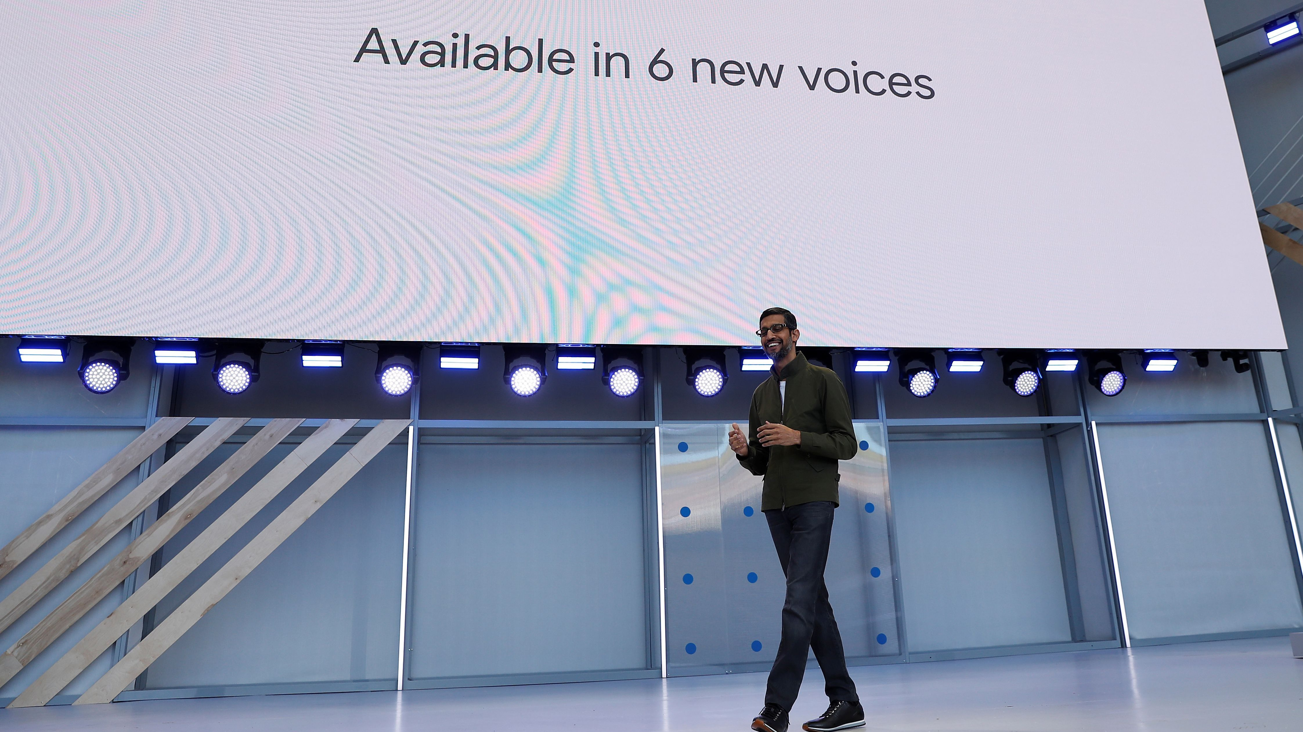Google CEO Sundar Pichai speaks on stage during the annual Google I/O developers conference in Mountain View, California, May 8, 2018. REUTERS/Stephen Lam - RC1A08B3C450