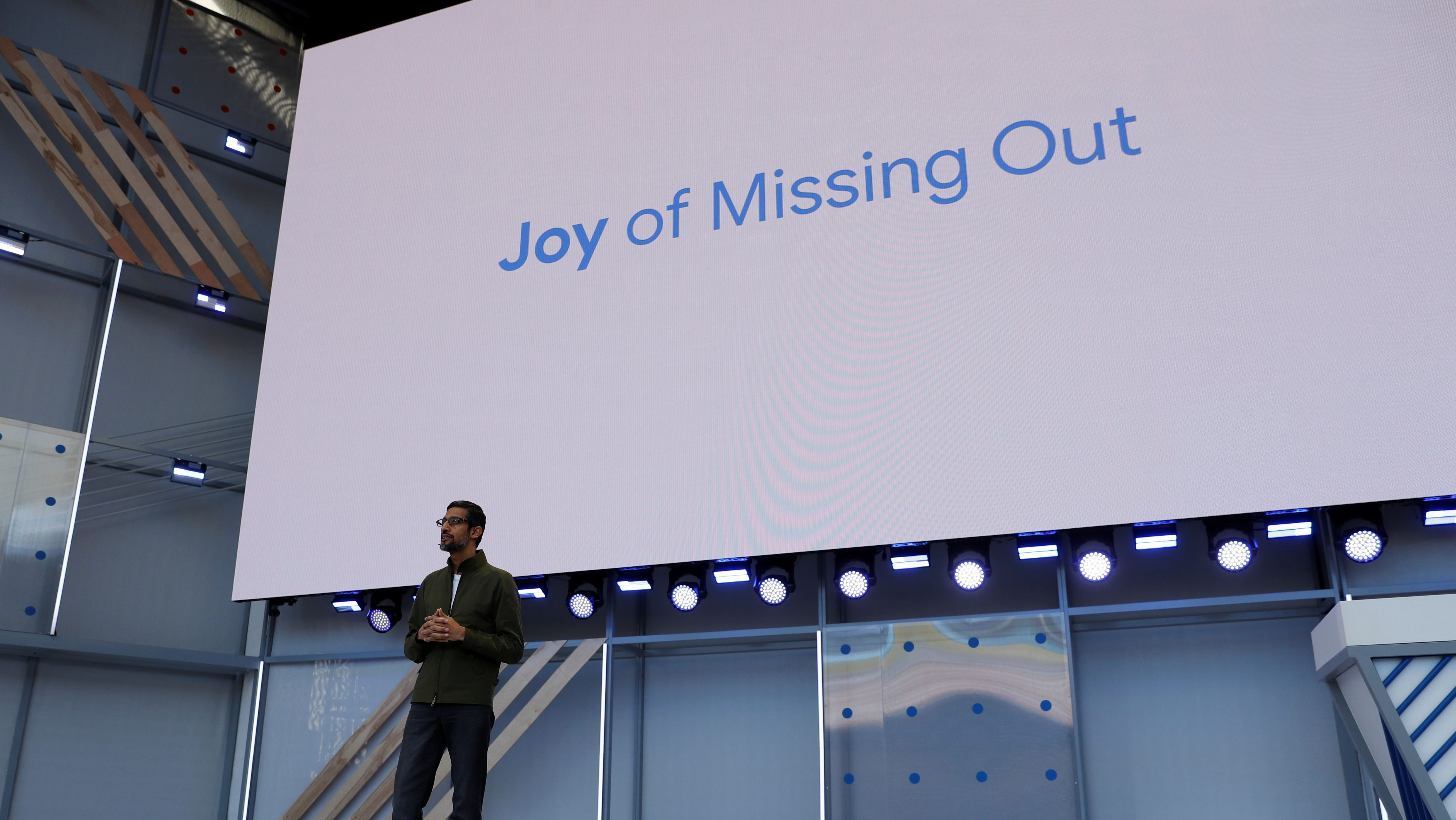 Google CEO Sundar Pichai speaks on stage during the annual Google I/O developers conference in Mountain View, California, May 8, 2018. REUTERS/ Stephen Lam - RC1429AA3000