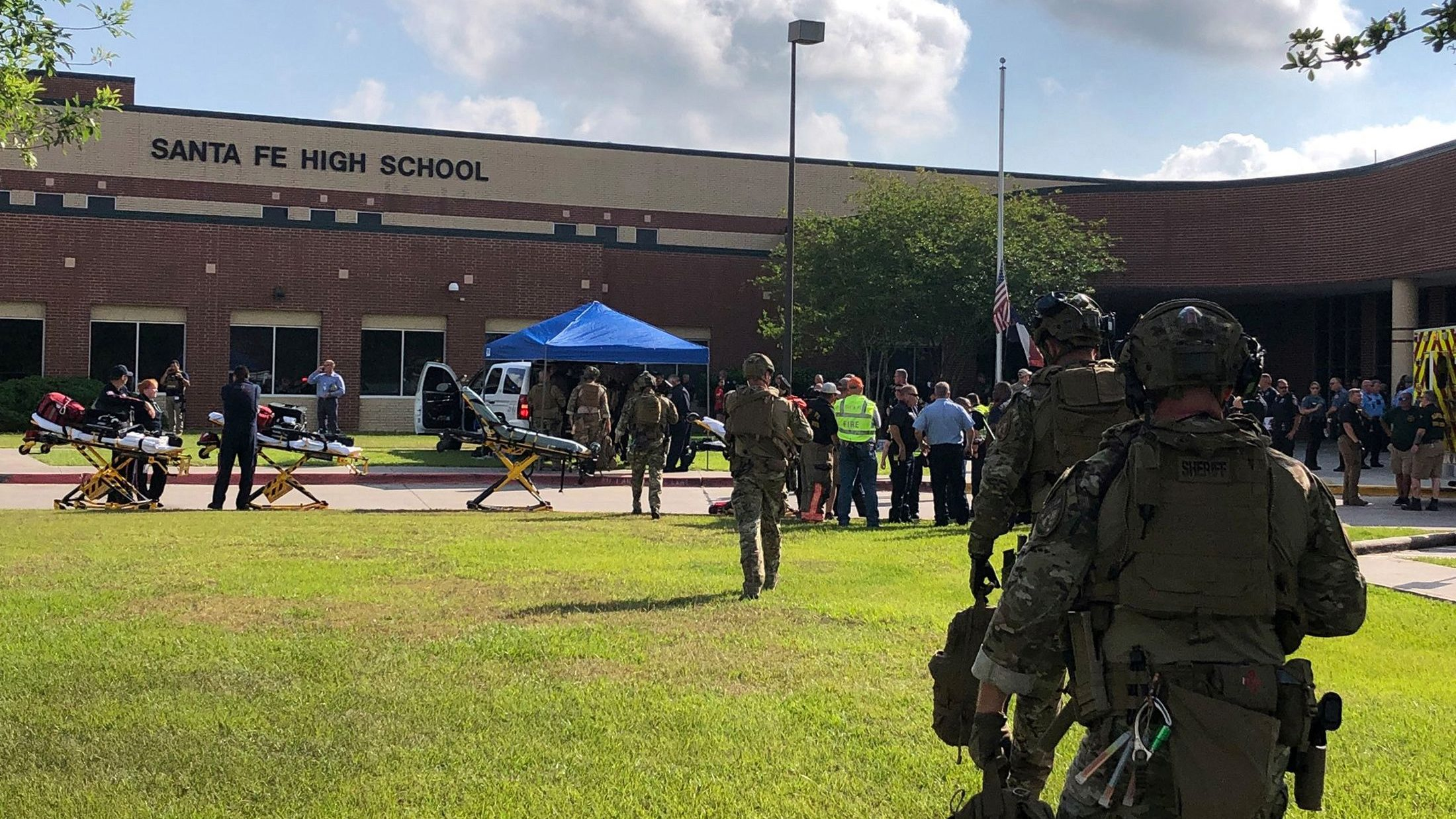 Law enforcement officers are responding to Santa Fe High School following a shooting incident