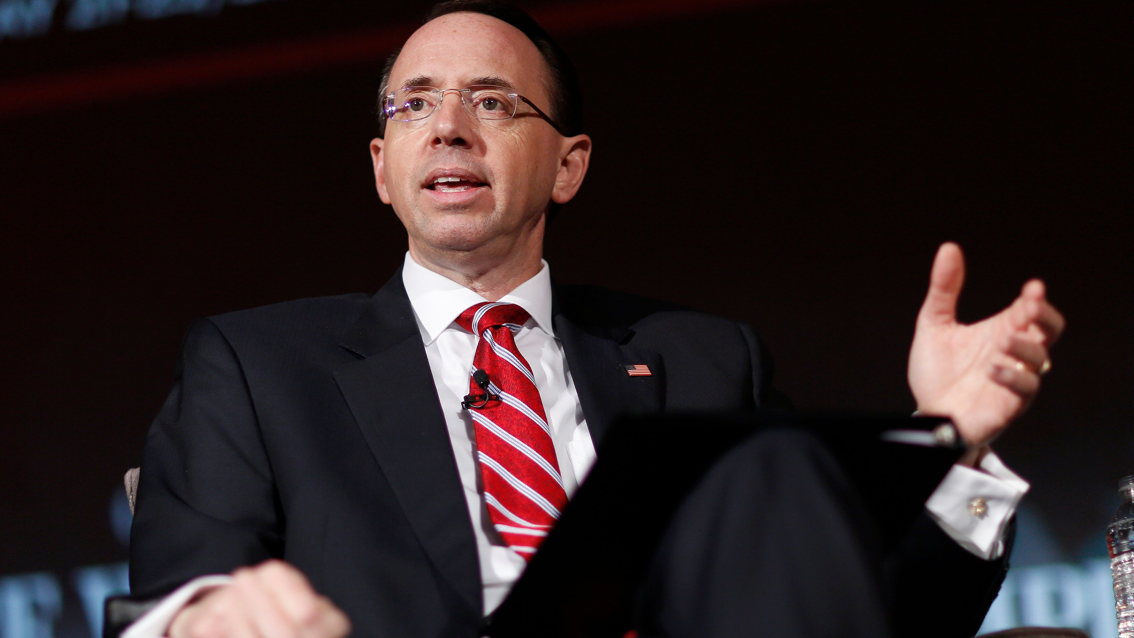 U.S. Deputy Attorney General Rod Rosenstein speaks at the Compliance Week 13th Annual Conference in Washington, U.S., May 21, 2018. REUTERS/Joshua Roberts - HP1EE5L14C20S