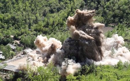 A command post of Punggye-ri nuclear test ground is blown up during the dismantlement process in Punggye-ri, North Hamgyong Province, North Korea May 24, 2018. Picture taken May 24, 2018.