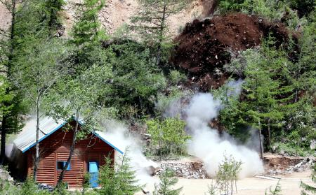 The second tunnel and an observatory of Punggye-ri nuclear test ground are blown up during the dismantlement process in Punggye-ri, North Hamgyong Province, North Korea May 24, 2018. Picture taken May 24, 2018