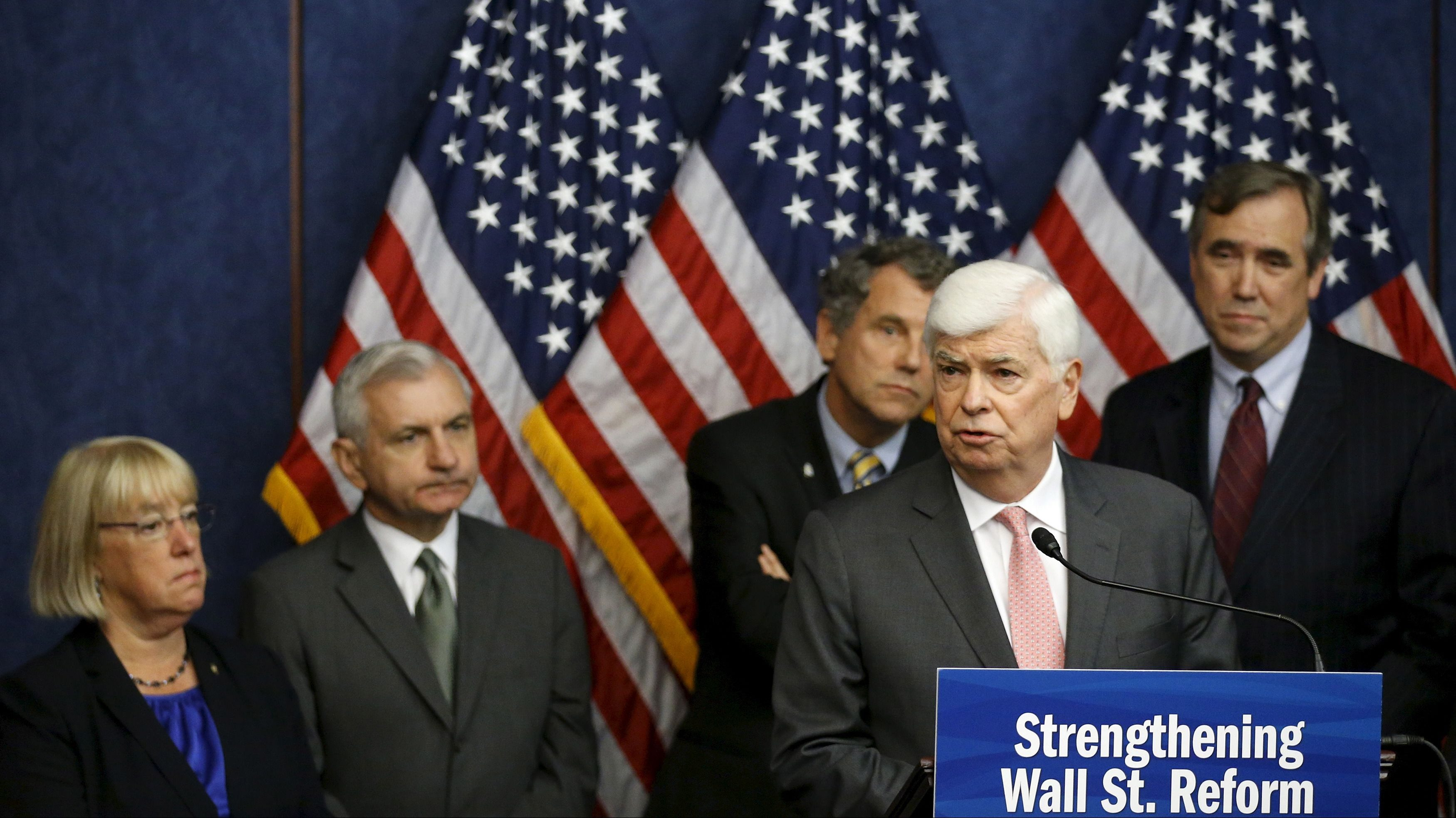 Dodd speaks at a news conference marking the fifth anniversary of passing of the Dodd-Frank Wall Street reform law, on Capitol Hill in Washington