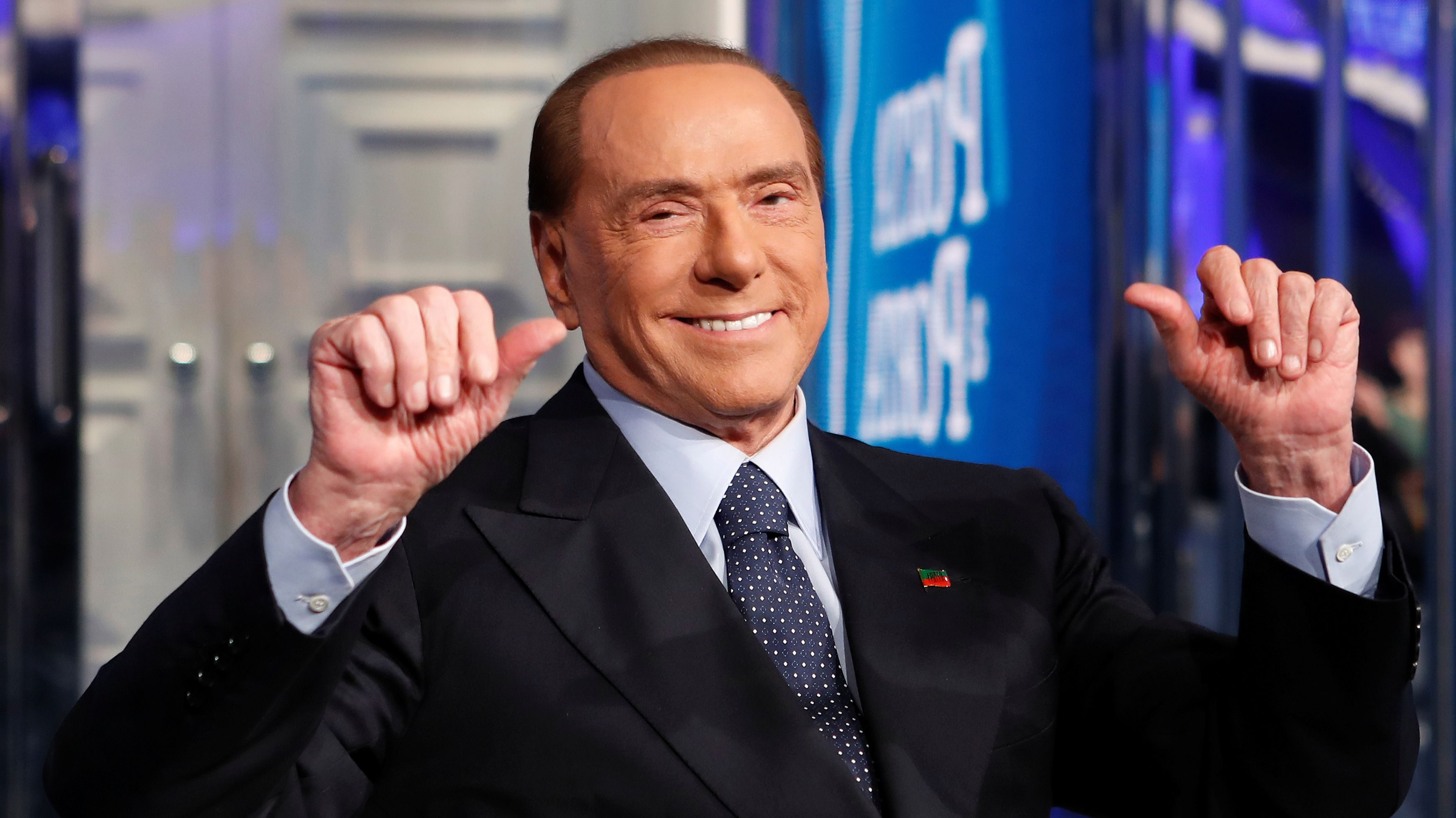 """Italy's former Prime Minister Silvio Berlusconi gestures during the taping of the television talk show """"Porta a Porta"""" (Door to Door) in Rome, Italy January 11, 2018."""