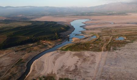 The Theewaterskloof Dam, which supplies most of Cape Town's potable water is seen from above near Villiersdorp