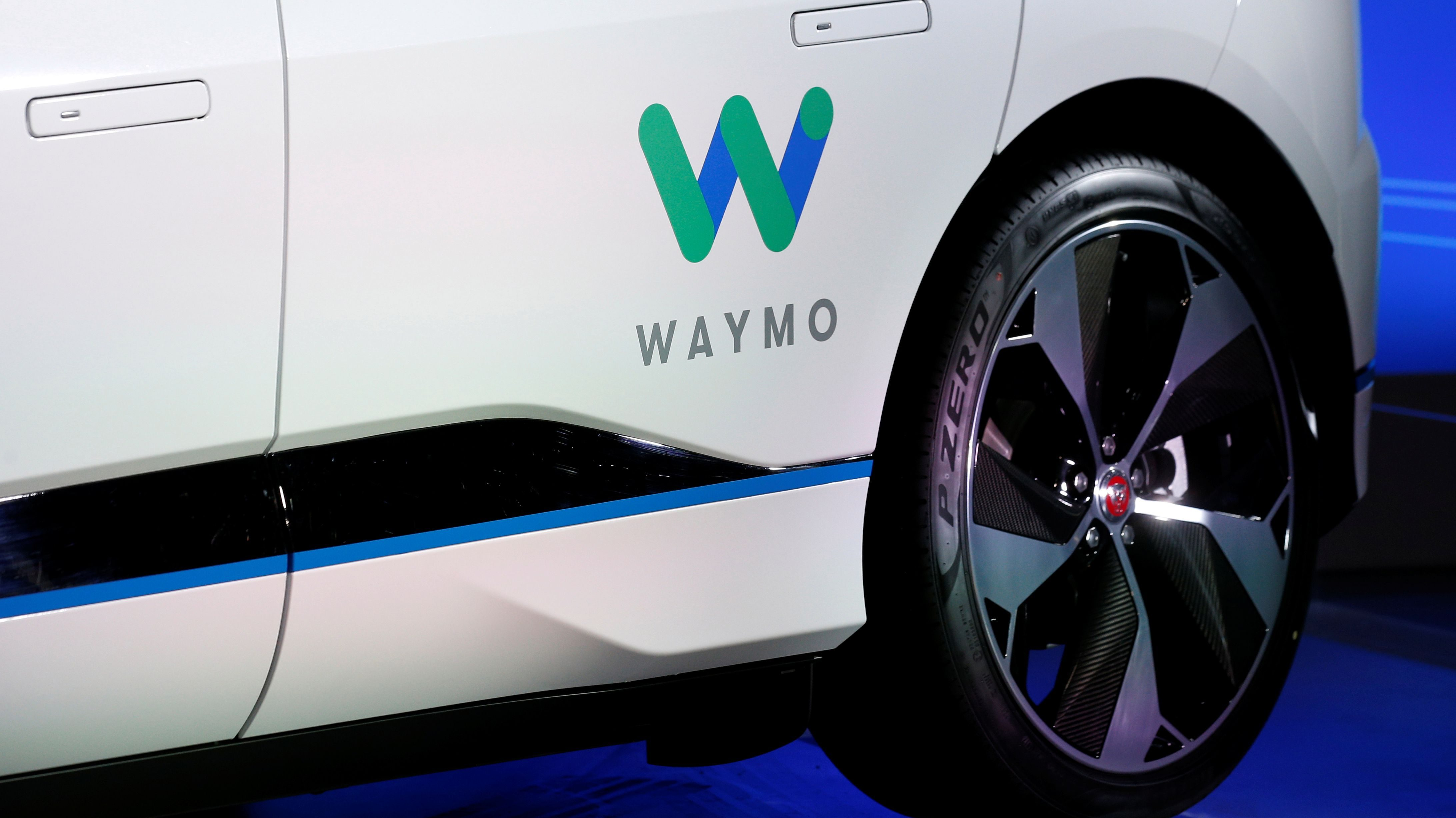 A Jaguar I-PACE self-driving car is pictured during its unveiling by Waymo in the Manhattan borough of New York City, U.S., March 27, 2018. REUTERS/Brendan McDermid - RC1D2FC945B0