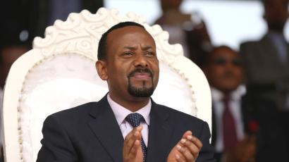 Ethiopia's newly elected prime minister Abiy Ahmed attends a rally during his visit to Ambo in the Oromiya region, Ethiopia April 11, 2018.
