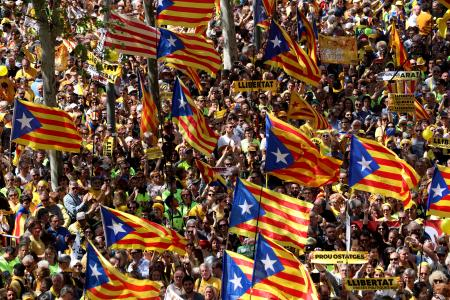"""Pro-independence supporters wave Catalan separatist flags, known as """"Estelada"""", as they attend a demonstration in Barcelona"""