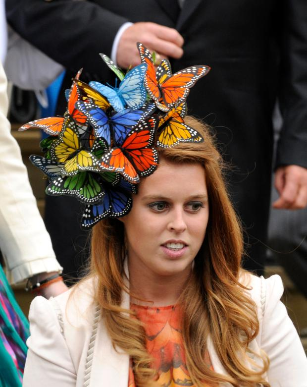 Britain S Princess Beatrice Stands On The Steps Of St George Chapel After Marriage Between Peter